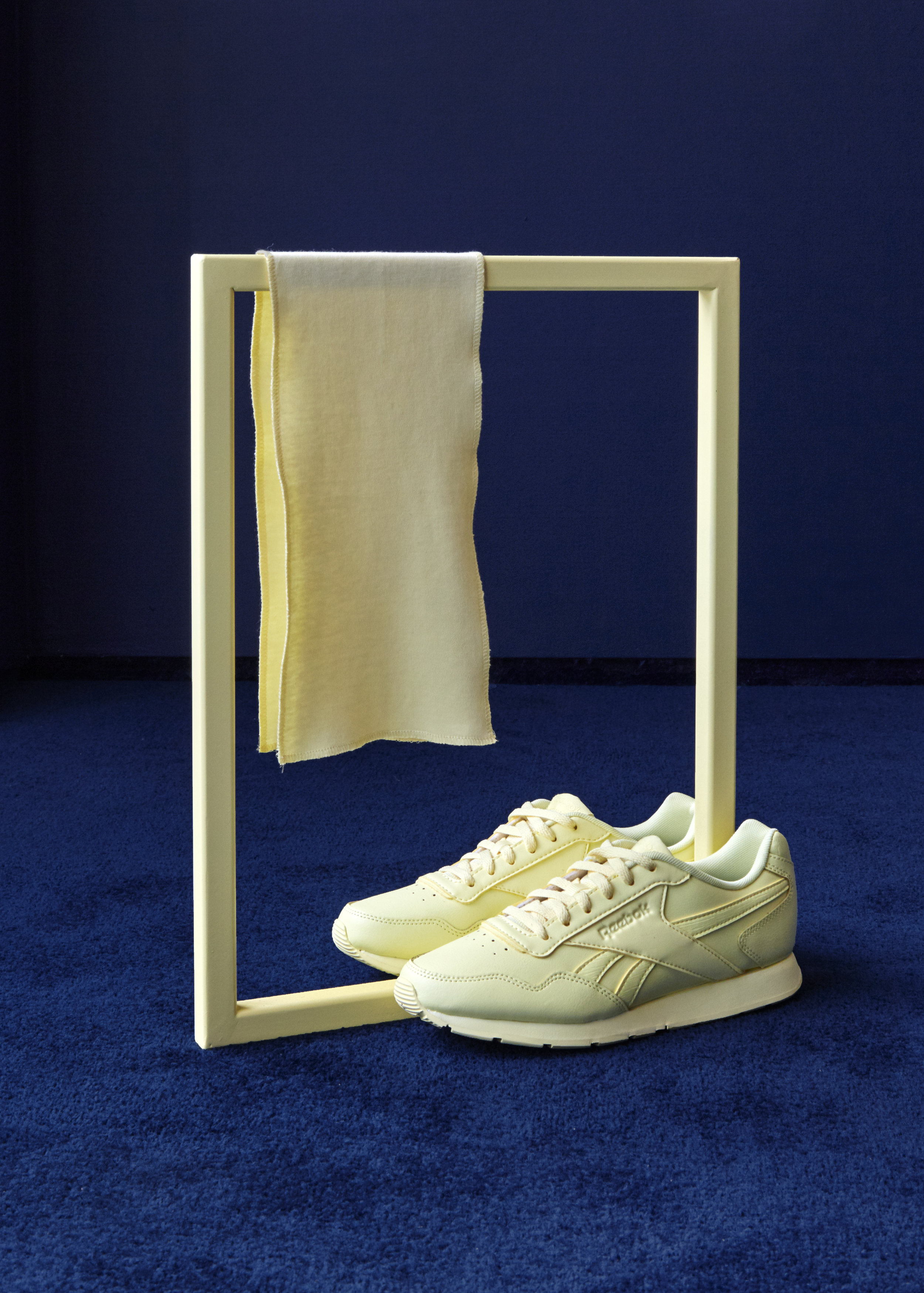 Ode to Bolton , 2019 Reebok Royal Glide shoes, American cotton, painted mild steel frame 44 x 34 x 18 cm