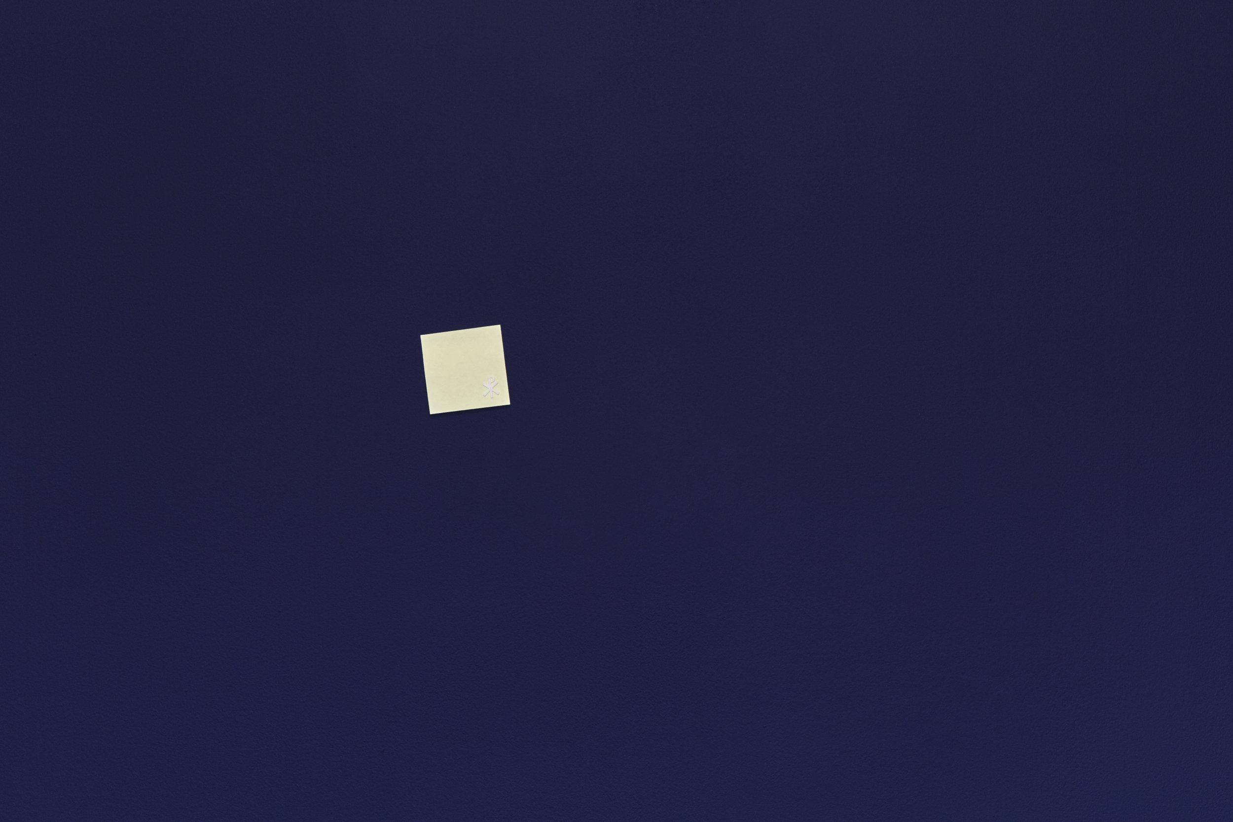 Pure Accident , 2019 3M Post-it® Note, 3D printed PLA (Chi Ro symbol) 7.5 x 7.5 cm
