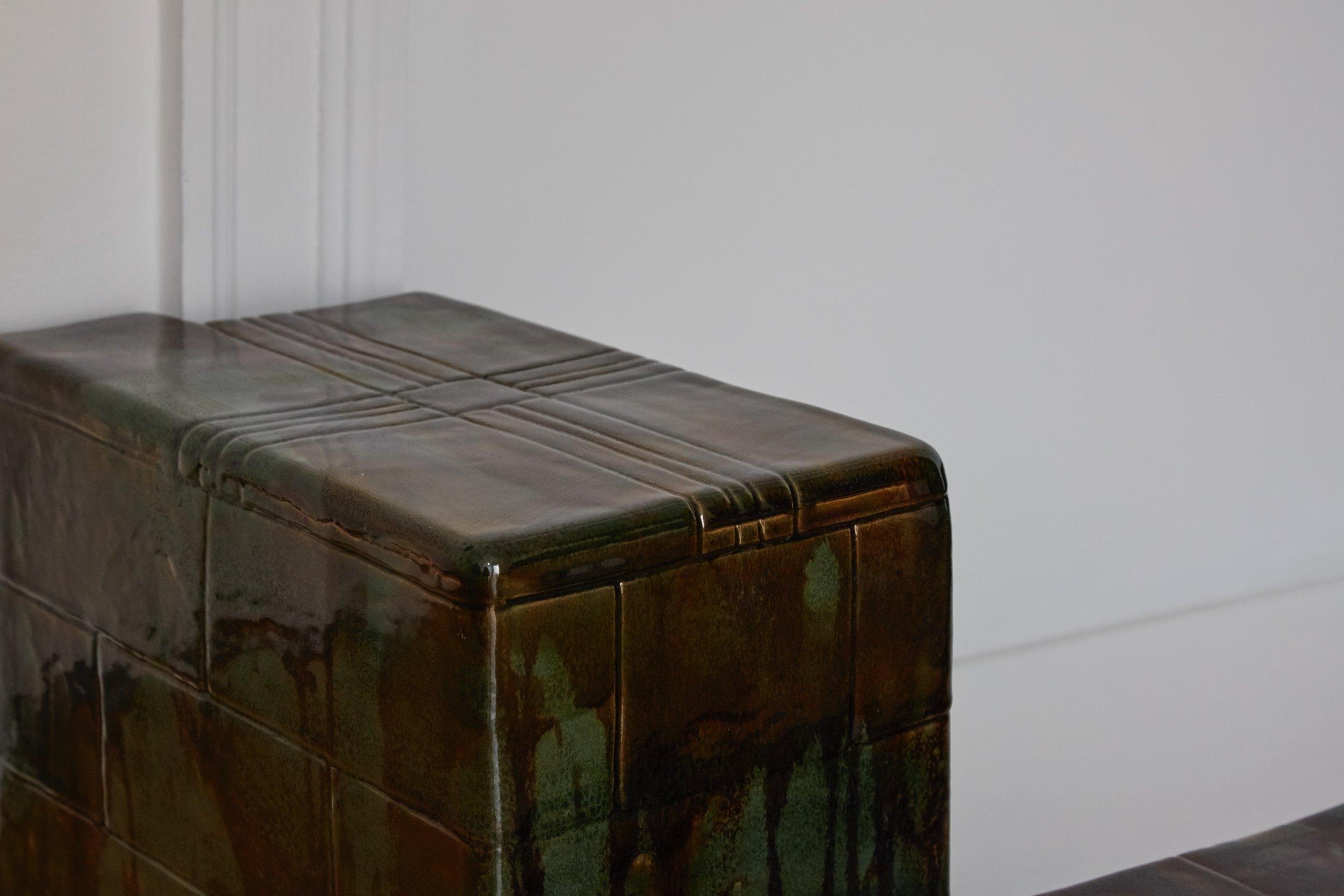 Strange Comfort (fire surround),  2019 Stoneware ceramic and glaze 28 x 135 x 52 cm