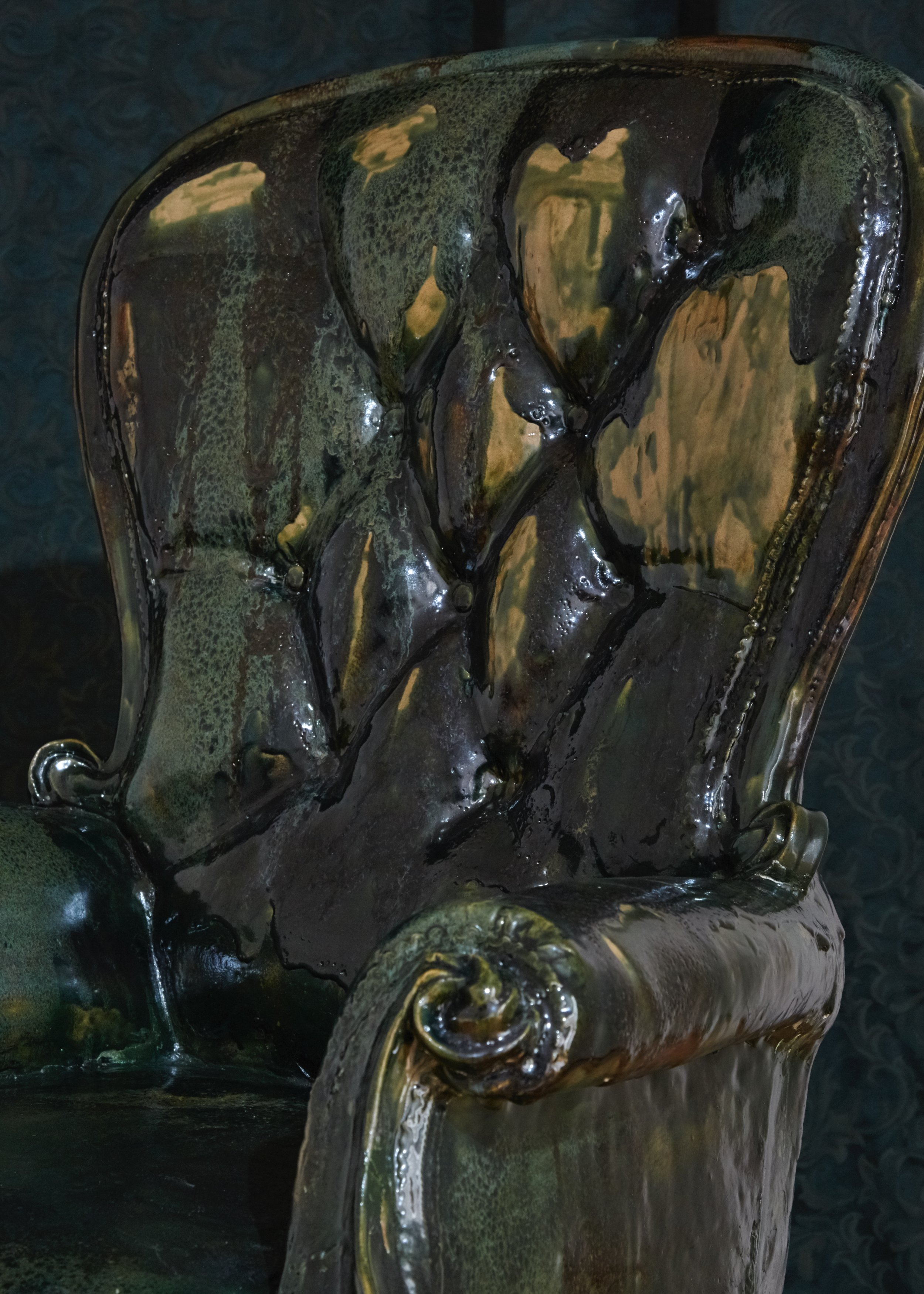 Strange Comfort (chair),  2019 Stoneware ceramic, glaze, brass and steel 120 x 70 x 70 cm