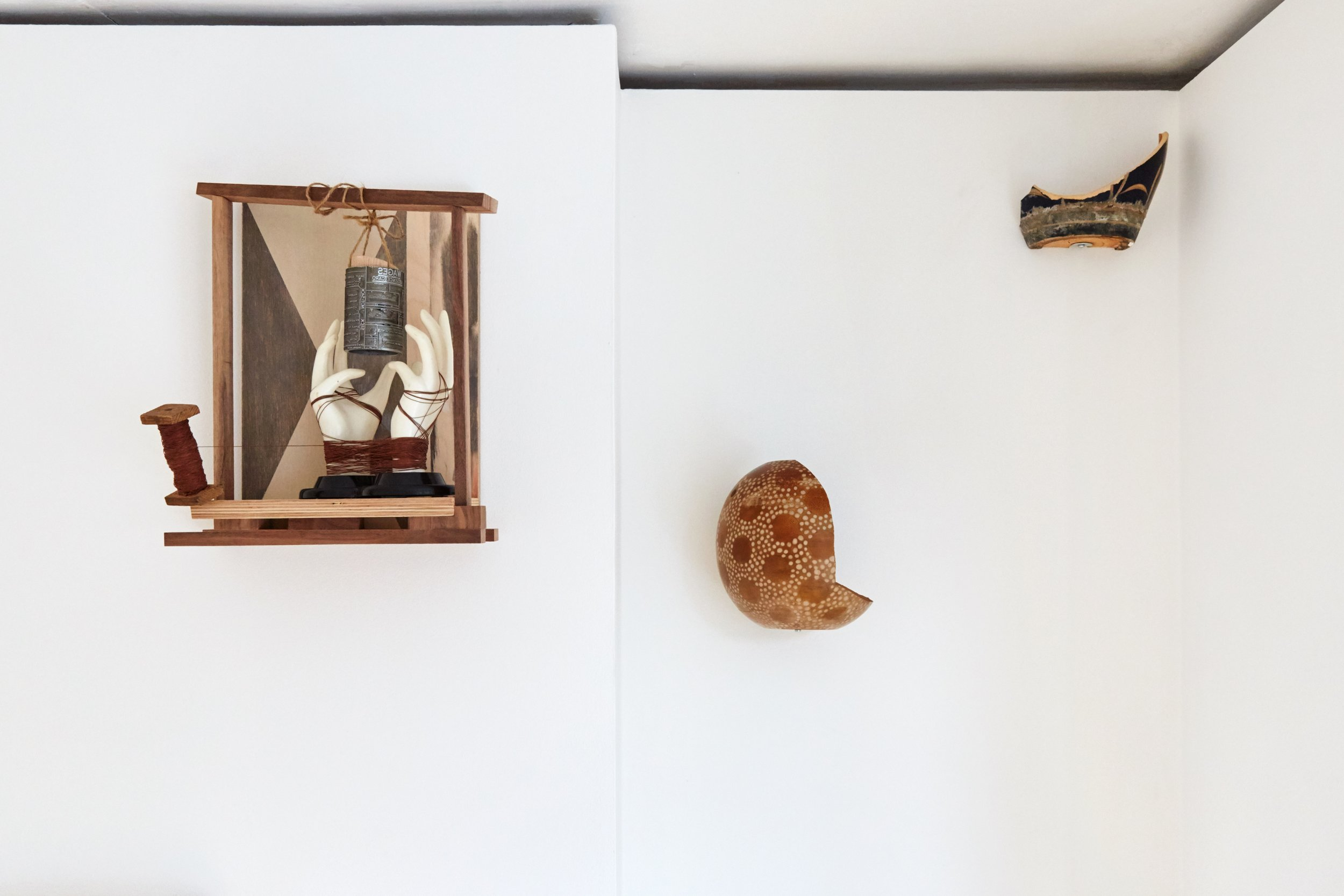 A Composition of Cream and Brown,  2019 Ash, Walnut and Painted Plywood with String, Thread, Ring Holder, and Absence Card Print Roller 40 x 33 x 23 cm   Whernside,  2019 Found ceramics and Nutella 22 x 20 x 20 cm   Ingleborough,  2019 Found ceramics 15 x 20 x 10 cm
