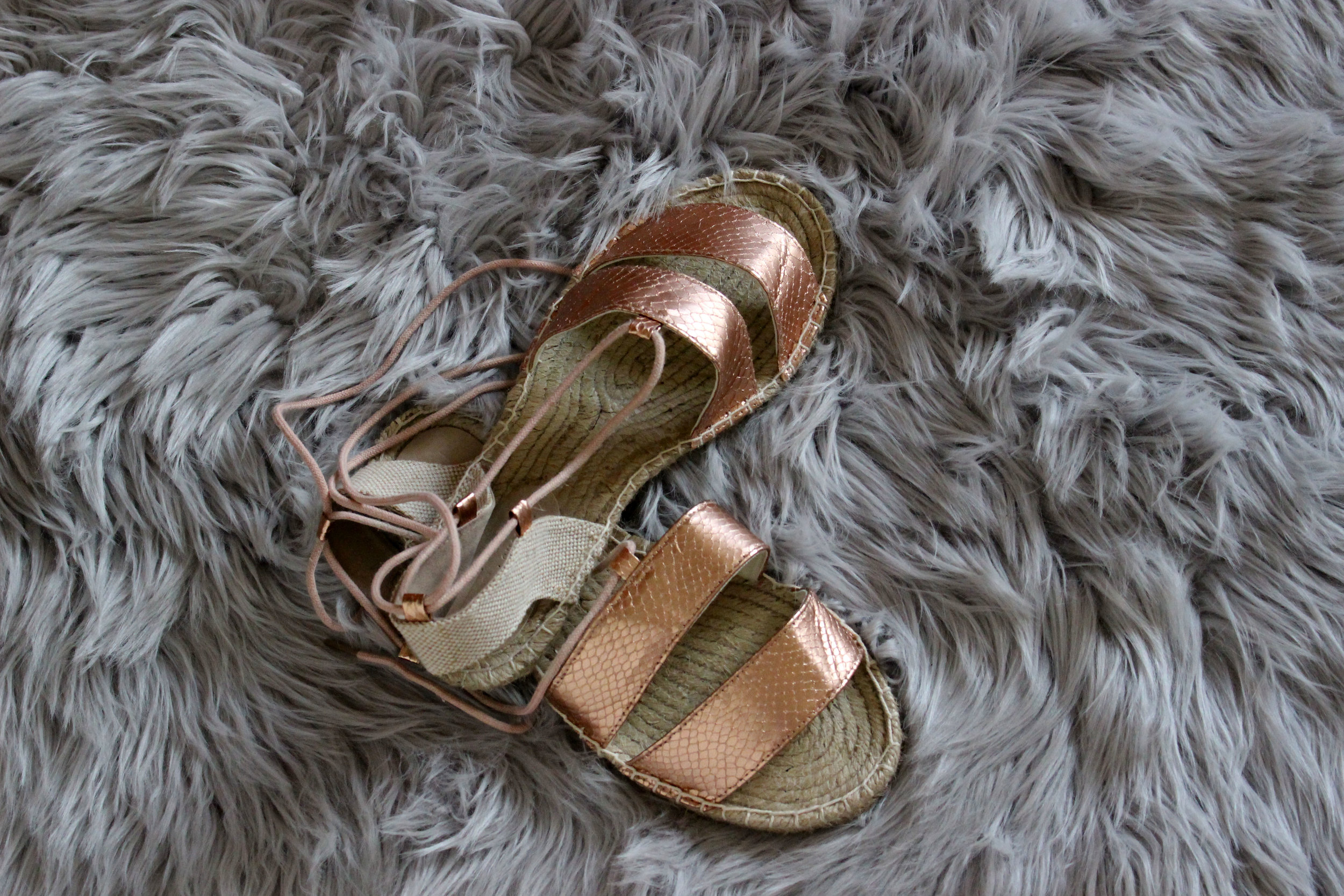 Rose Gold Vegan Leather Sandals