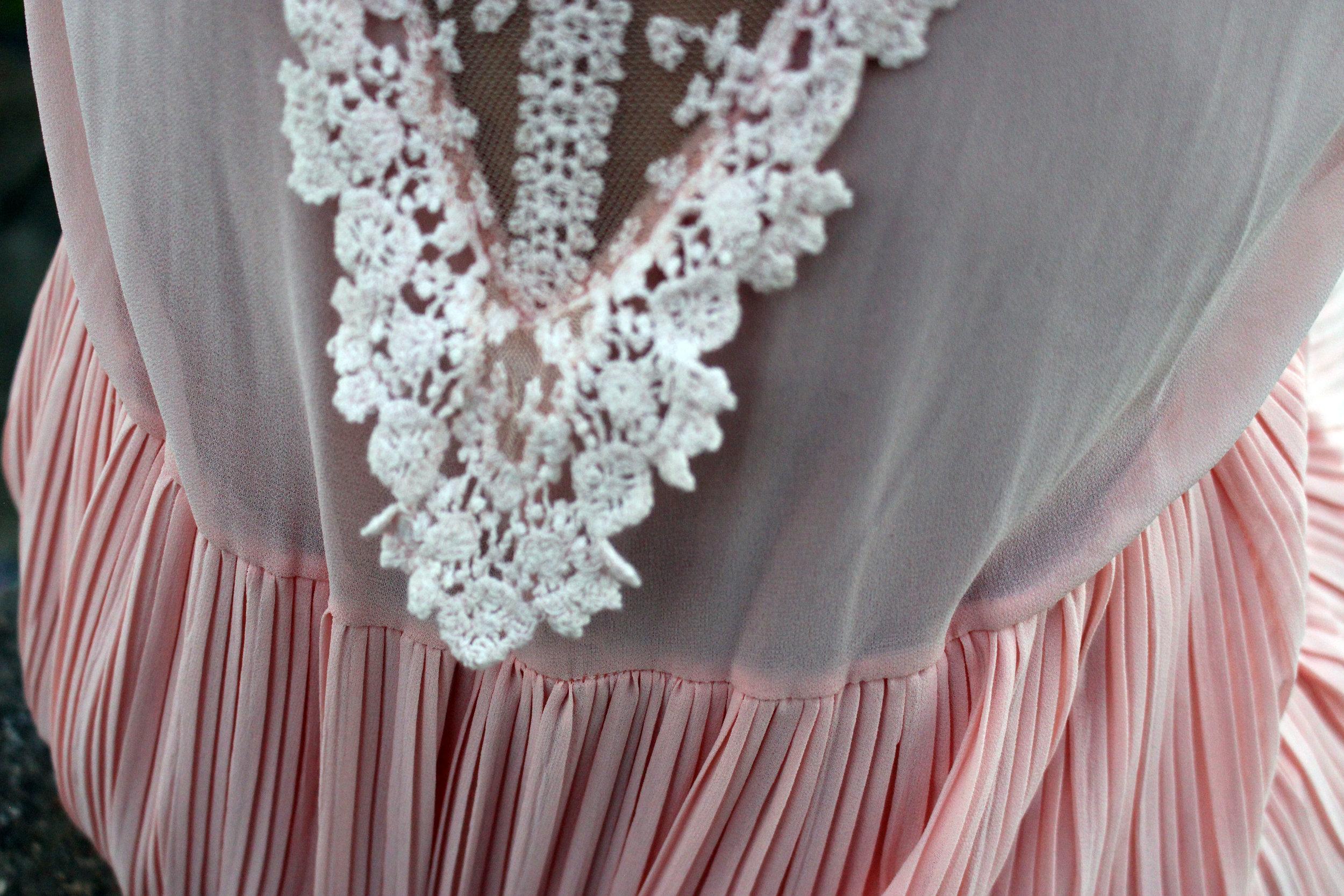 Blush dress lace detail