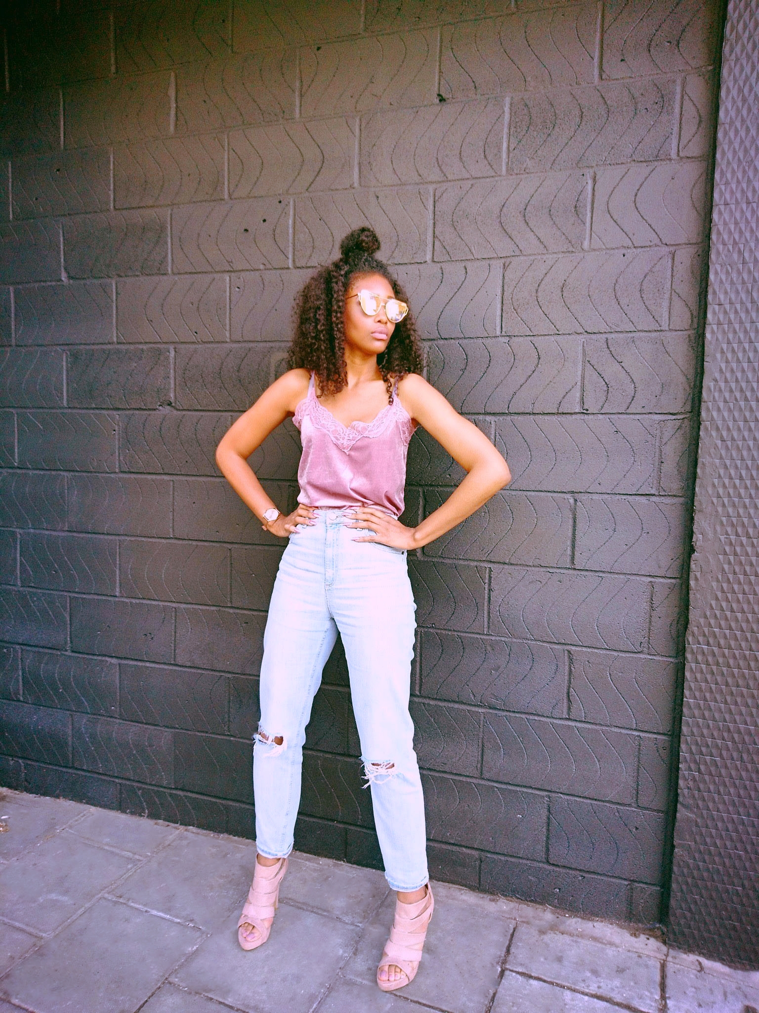 pink camisole stonewash jeans blush shoes rose gold sunglasses curly hair