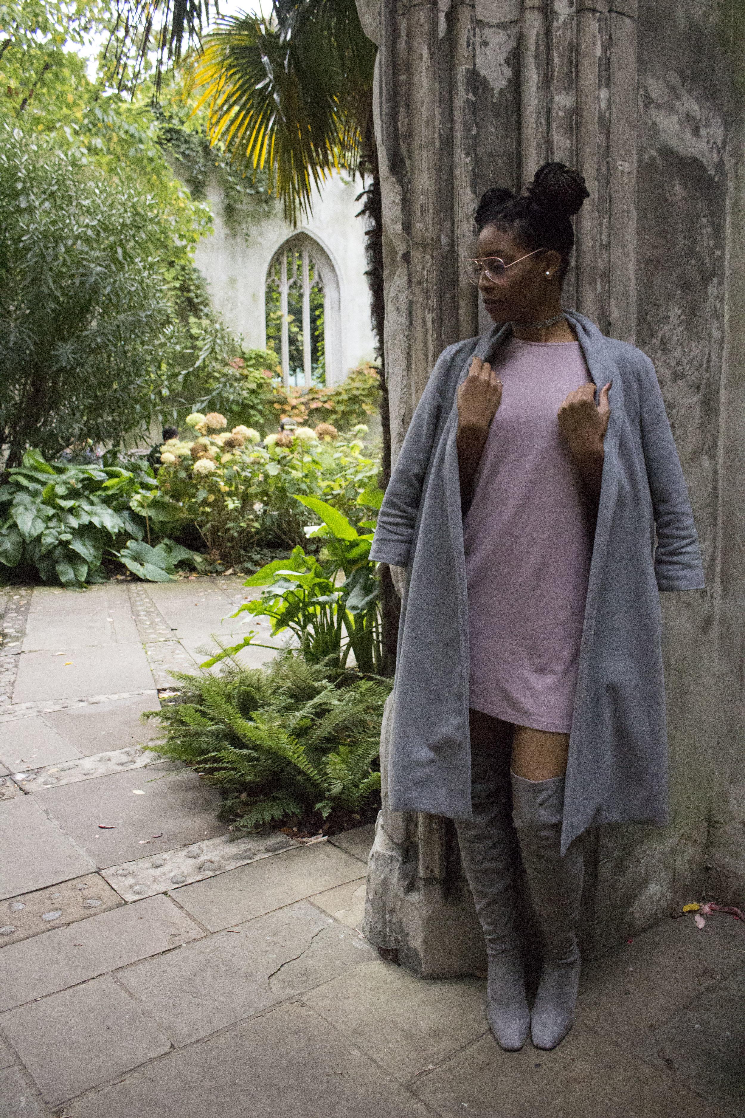 Rose gold glasses - Fashion Prescription    Grey choker - Wish    Grey duster coat - Amazon    Mauve dress and grey thigh high boots - ASOS