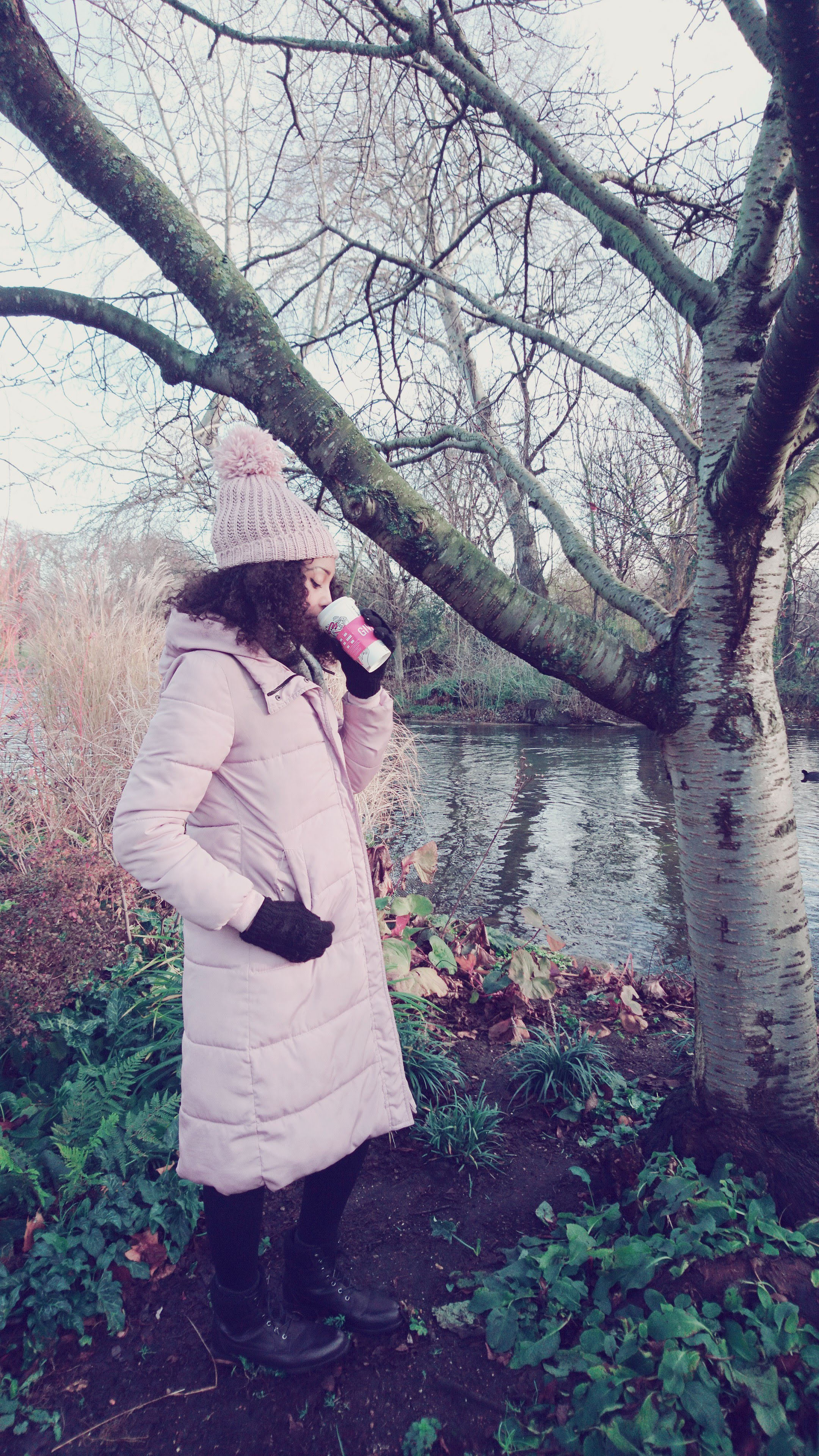 Pink hat and puffer coat for winter 1.jpg