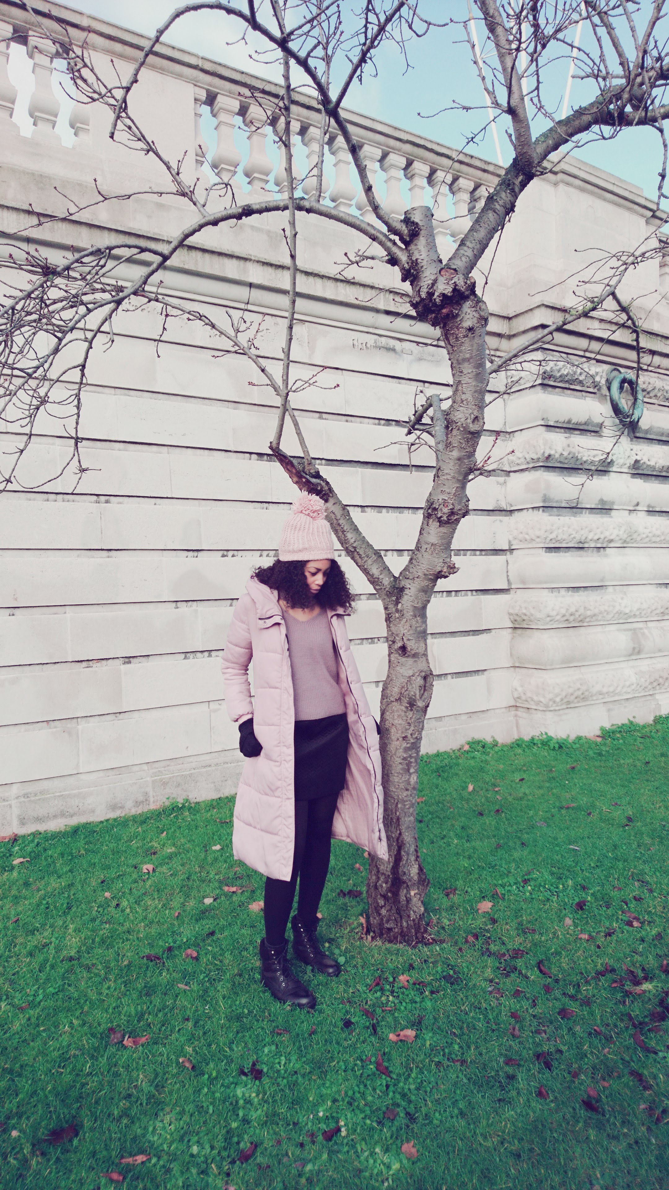Mauve jumper, pink puffer coat, black mini skirt for Winter