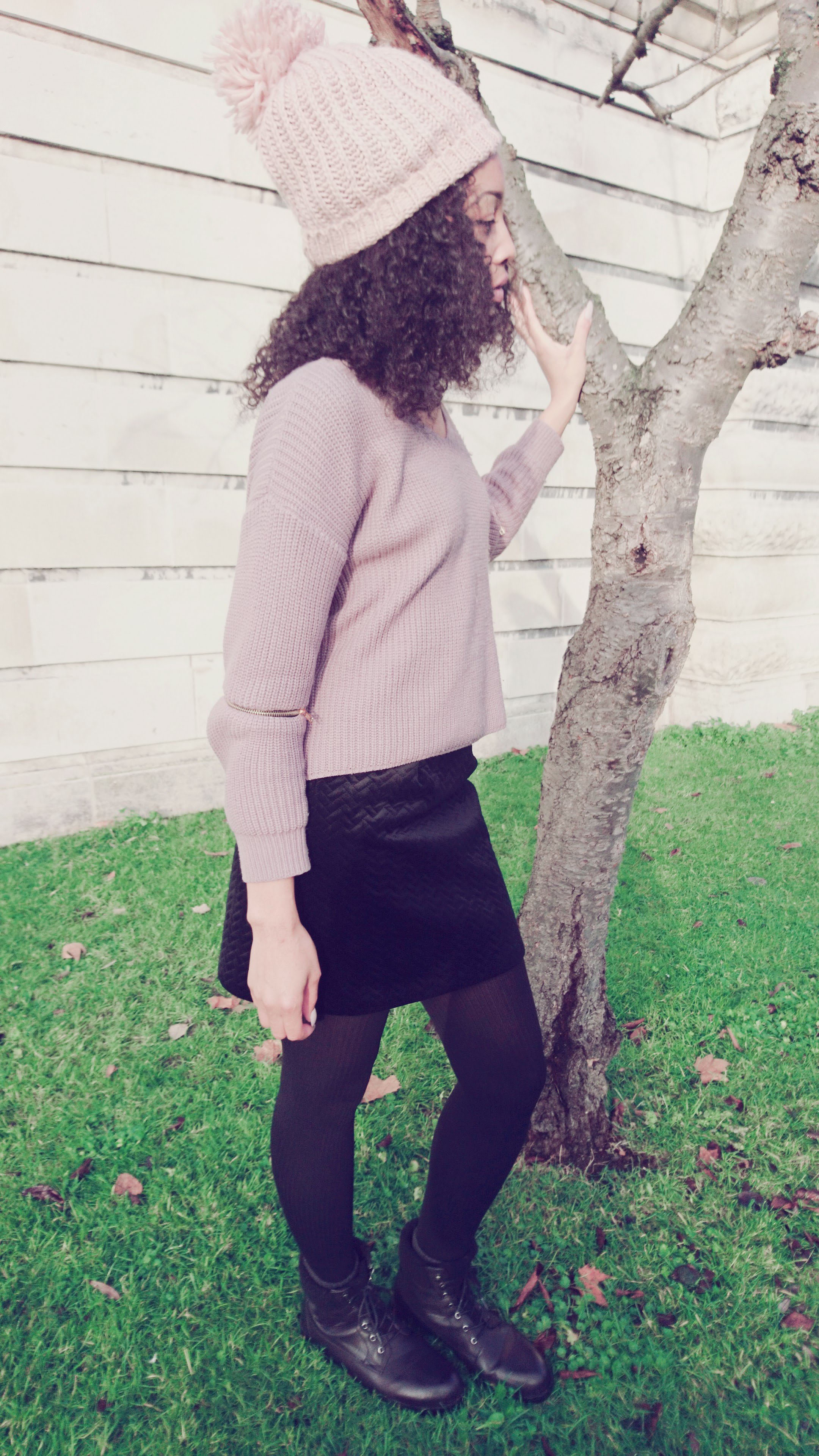 Mauve jumper black mini skirt for Winter