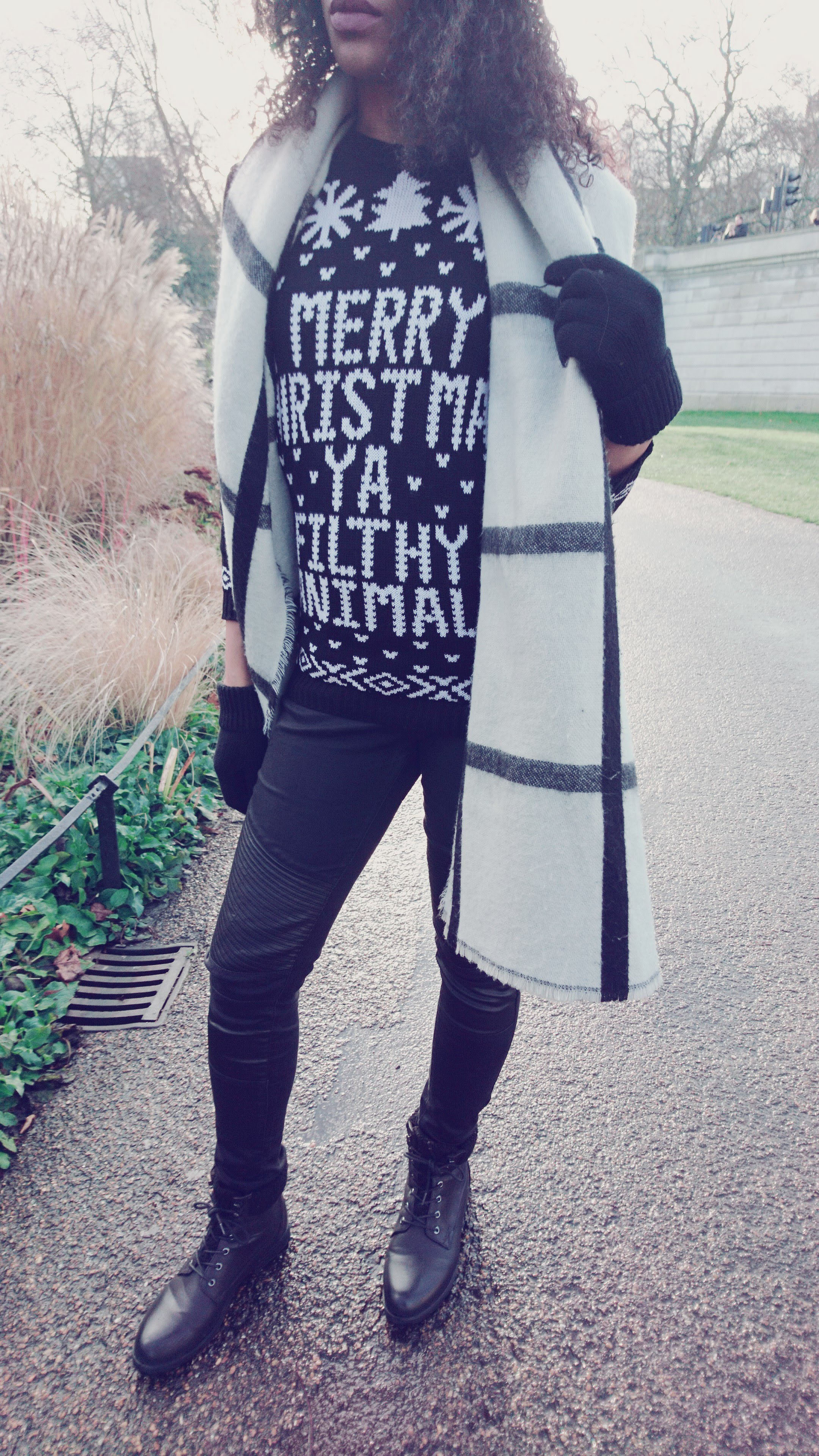 Black and White Scarf, Black Jeans and Filthy Animal Christmas Jumper.jpg