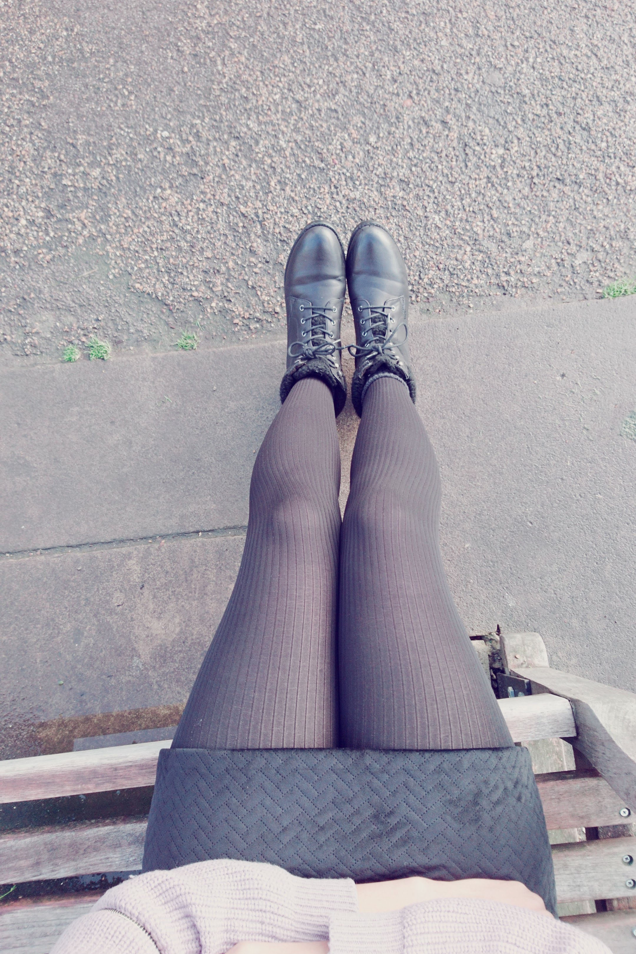 Black mini skirt black tights and black ankle boots for Winter