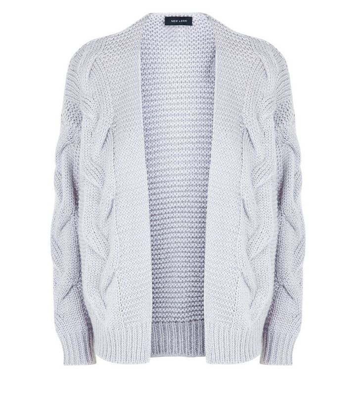 New Look Grey Cable Knit Drop Sleeve Cardigan.jpg