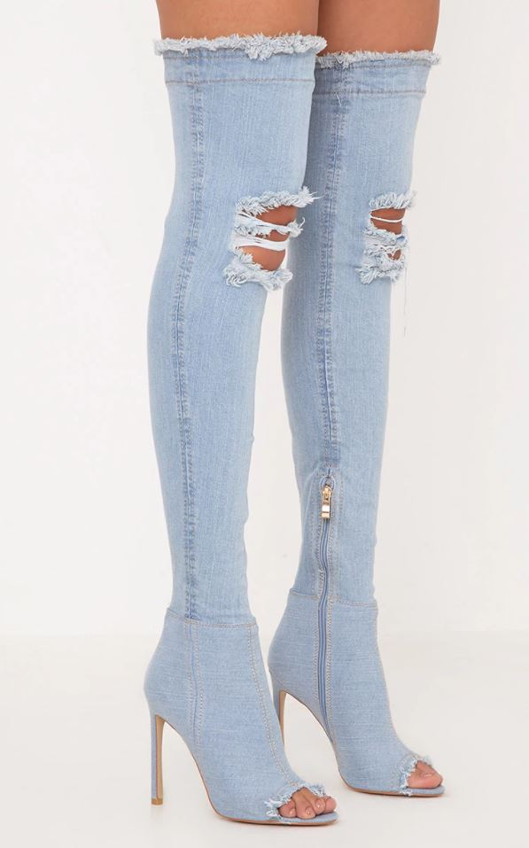 Pretty Little Thing Kaylia Light Wash Denim Thigh Boots.JPG