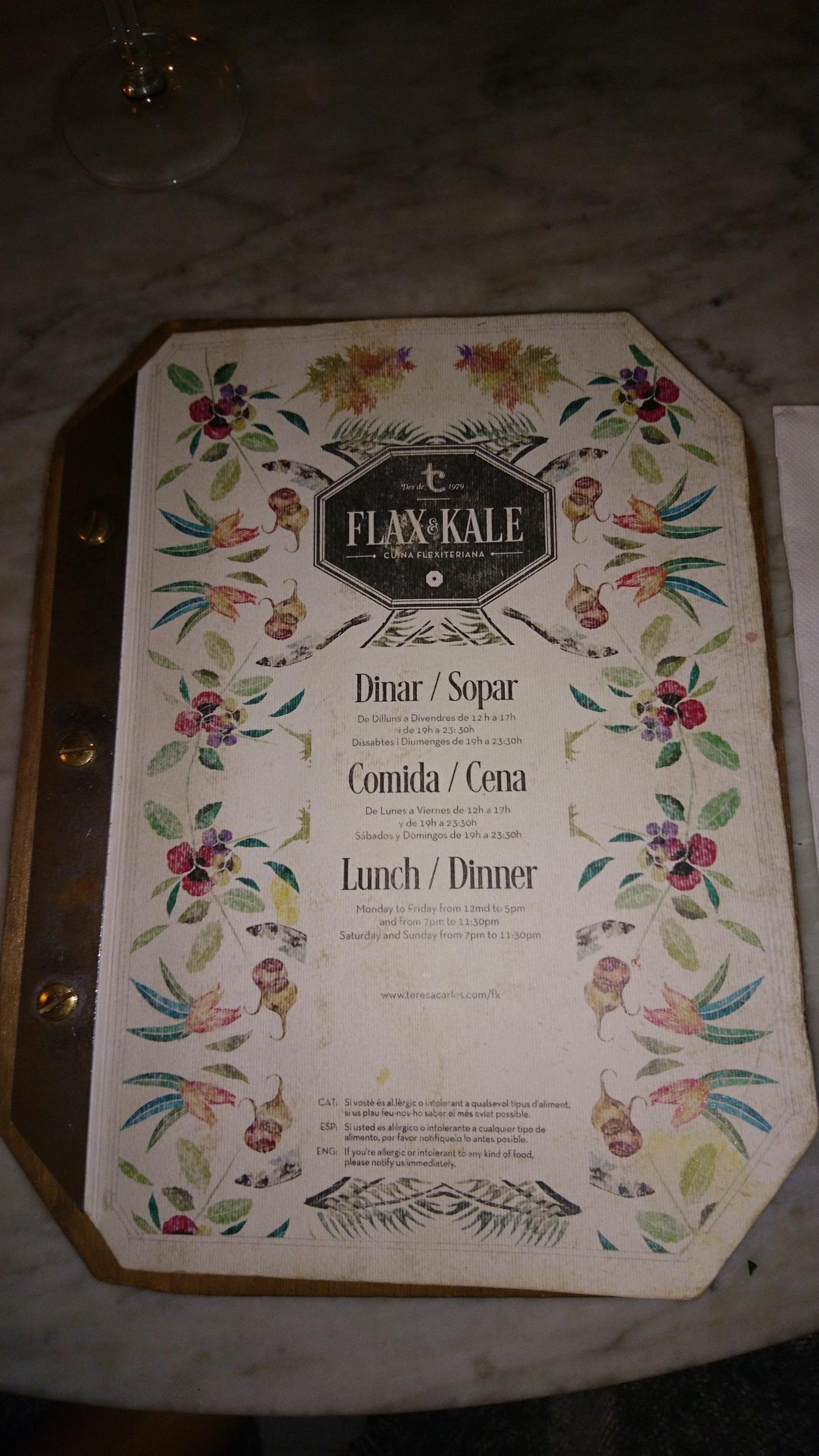 Flax and Kale menu