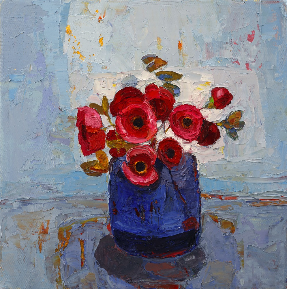 Title: Blue Bottle and Butterflies Size: 12 x 12 inches Medium: Oil on Canvas SOLD