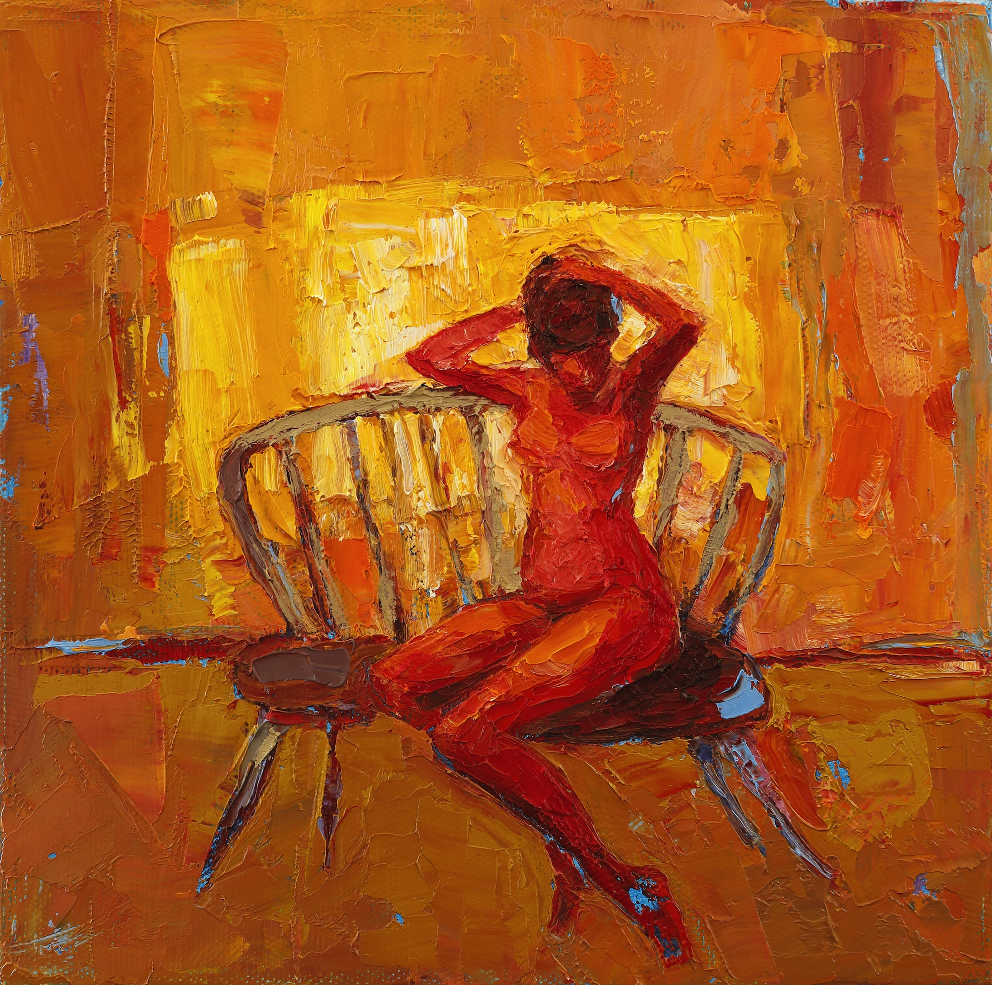 Title: Seat in the Sun Size: 8 x 8 inches Medium: Oil on Canvas Price: SOLD