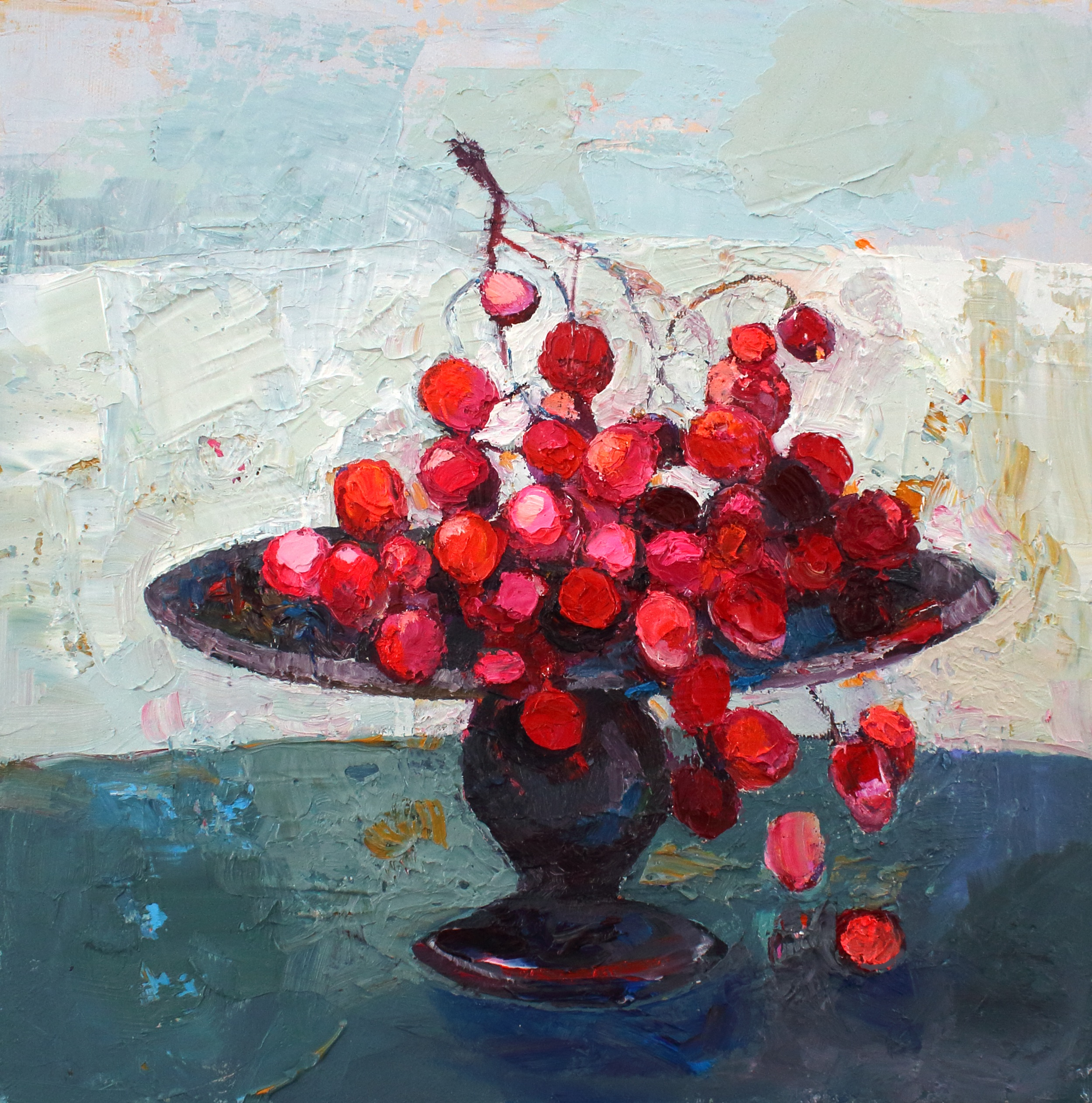 Title: Flaming Grapes Size: 12 x 12 inches Medium: Oil on Canvas Price: £1700