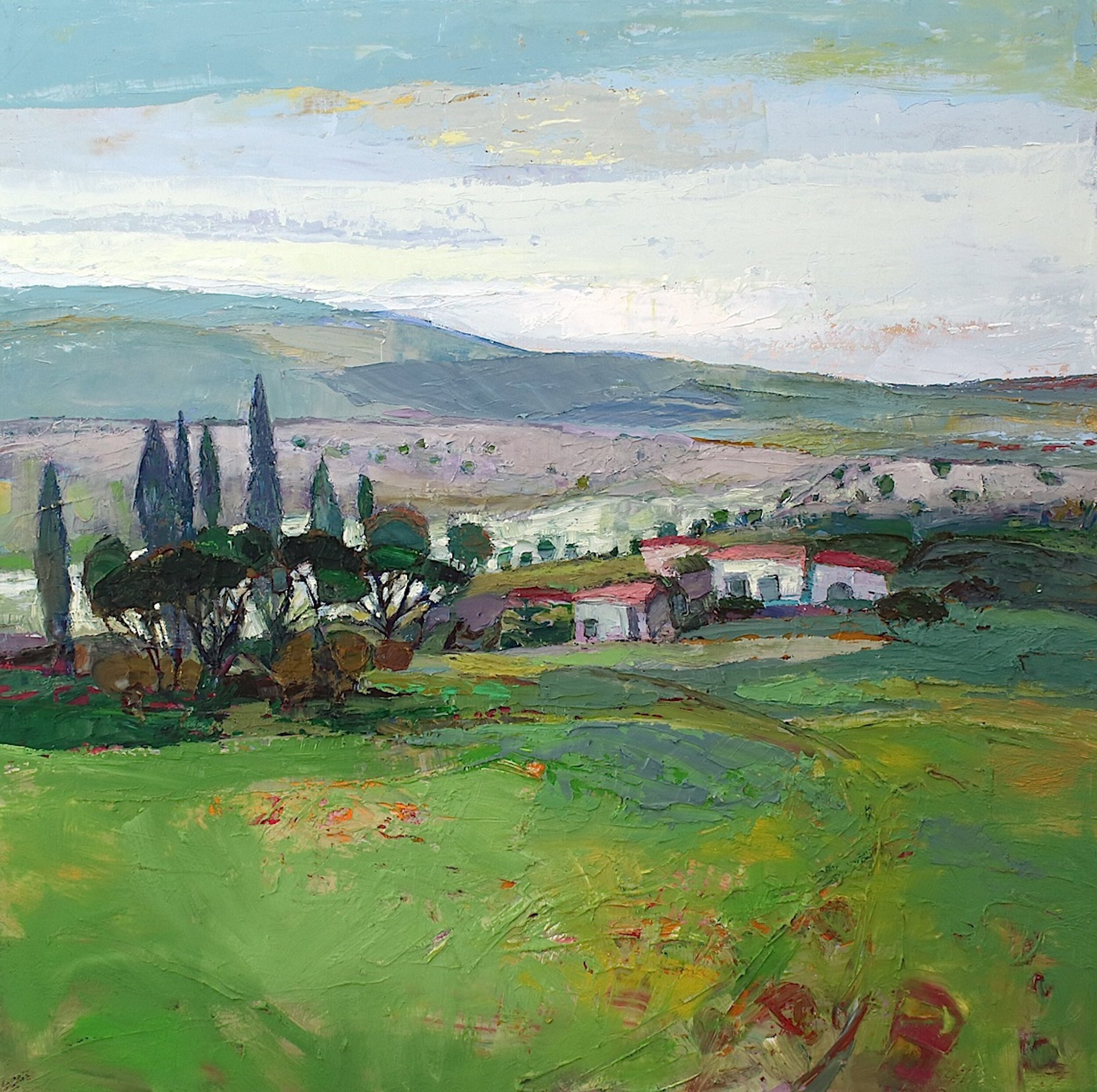 Title: Olives and Cypress  Size: 22x24in  Medium: Oil on Canvas  Price: £3750