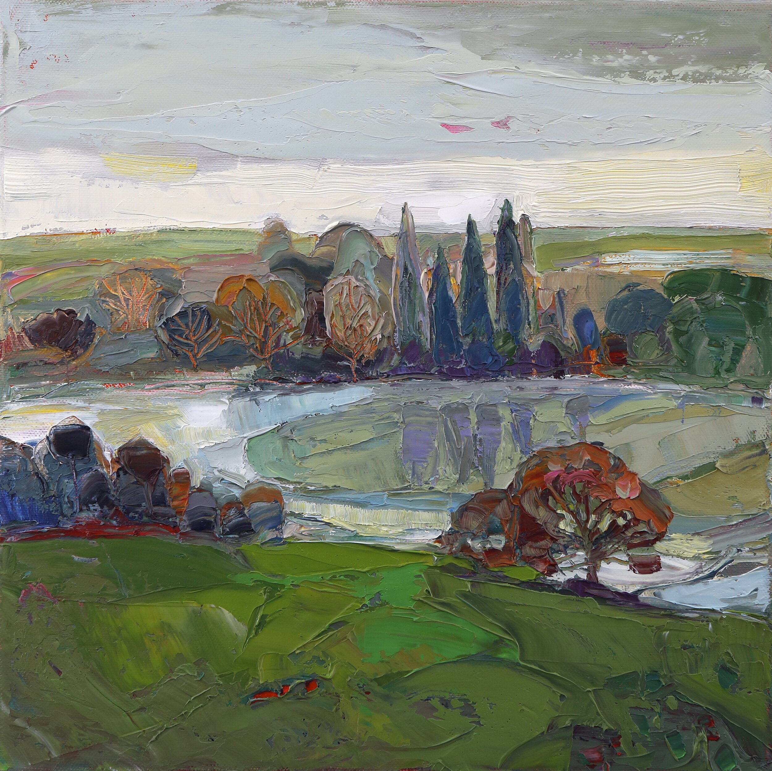 Title: The River Runs  Size: 12x12in  Medium: Oil on Canvas  Price: £1750