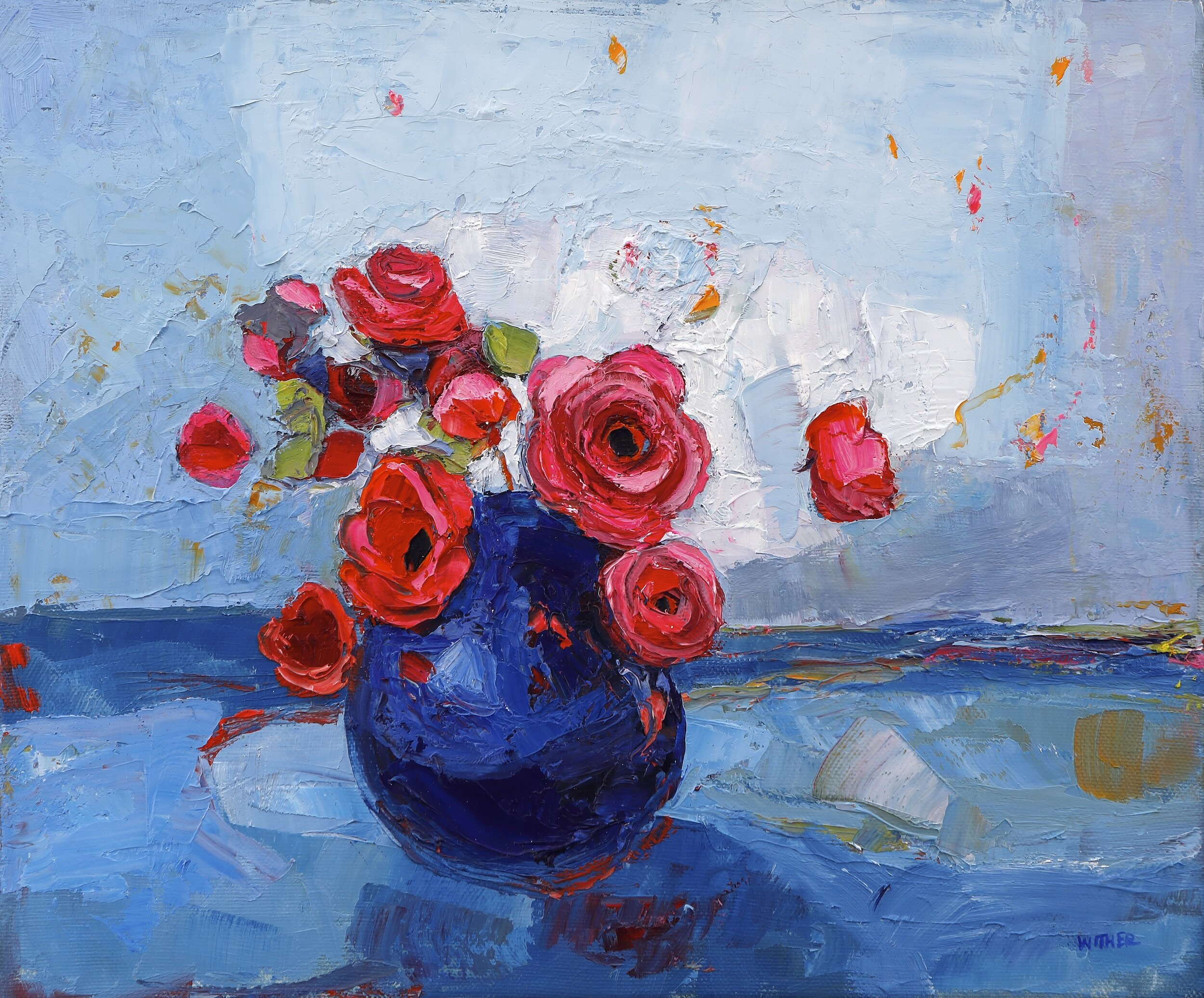 Title: Roses in a Pale Blue Sky  Size: 10x12in  Medium: Oil on Canvas  Price: £1500