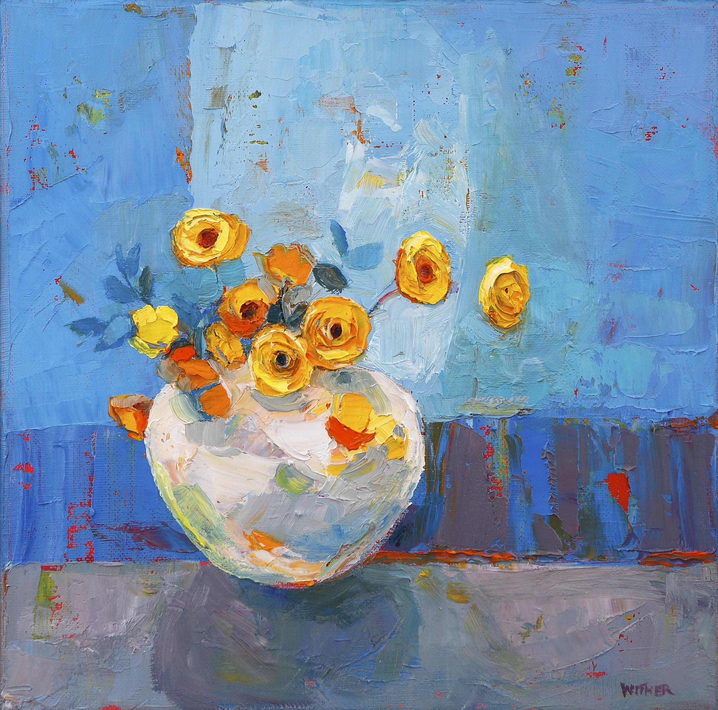 Title: A Dozen Yellow Gems  Size: 10x10in  Medium: Oil on Canvas  Price: £1500