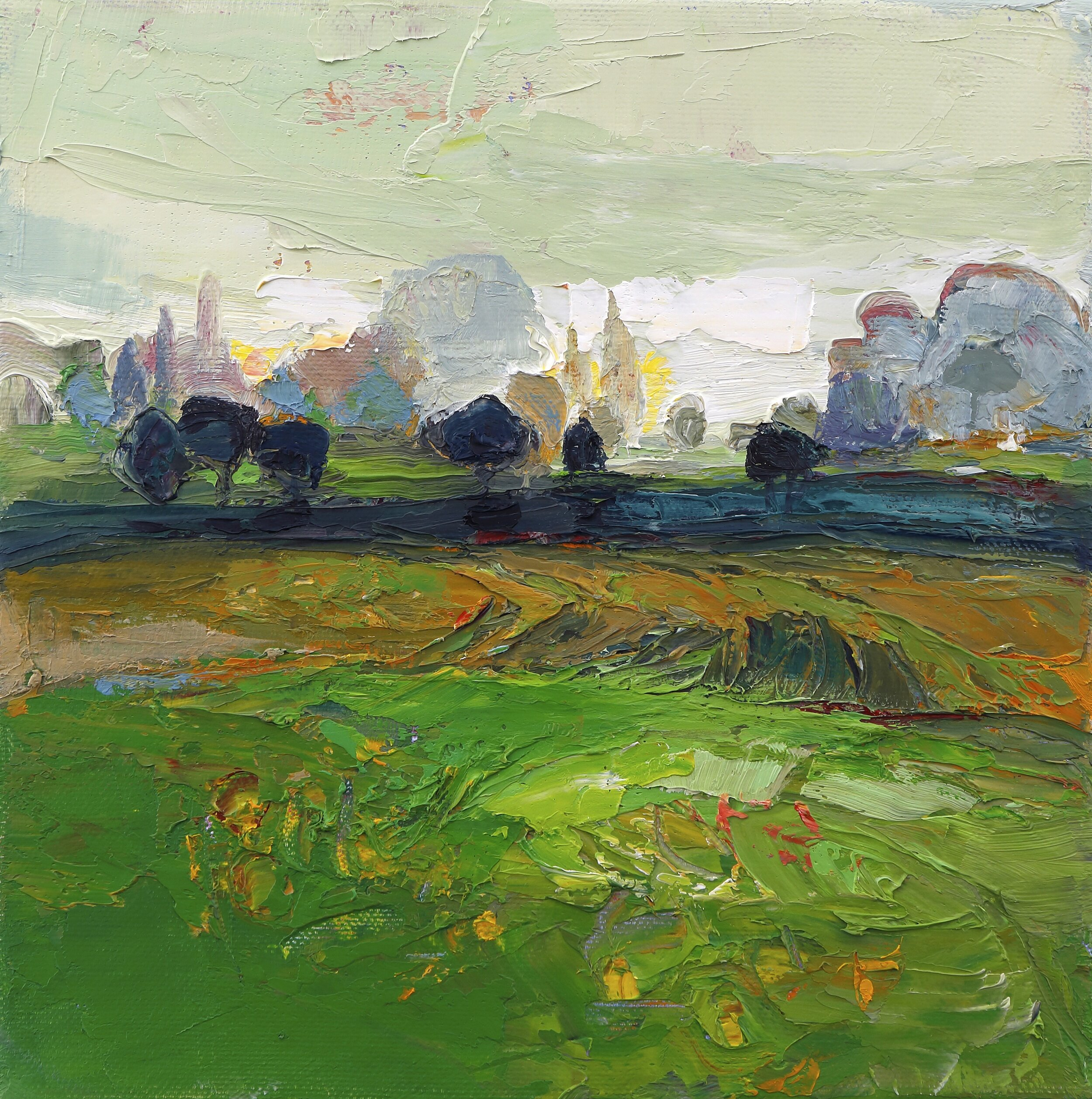 Title: Lush Green Square  Size: 8x8in  Medium: Oil on Canvas  Price: £950