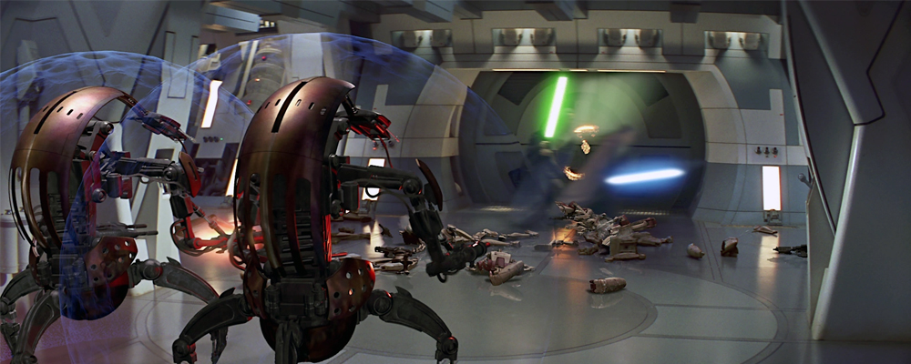 Qui-Gon Jinn and Obi-Wan Kenobi zip off to watch another movie instead