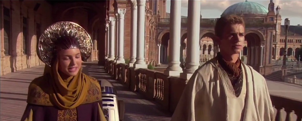 Anakin and Padme travel incognito, while dressed like flamboyant robotic peacocks