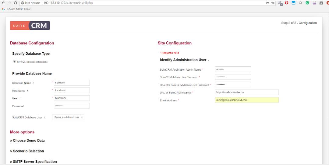 SuiteCRM installation Database details.png