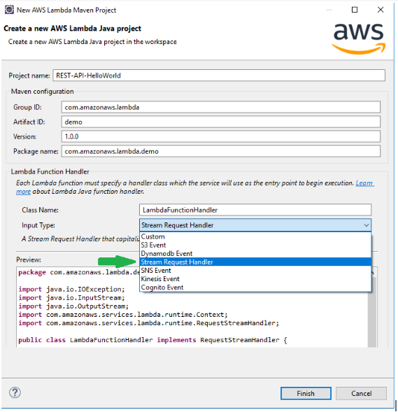 Eclipse Java Lambda new project stream request handler.png
