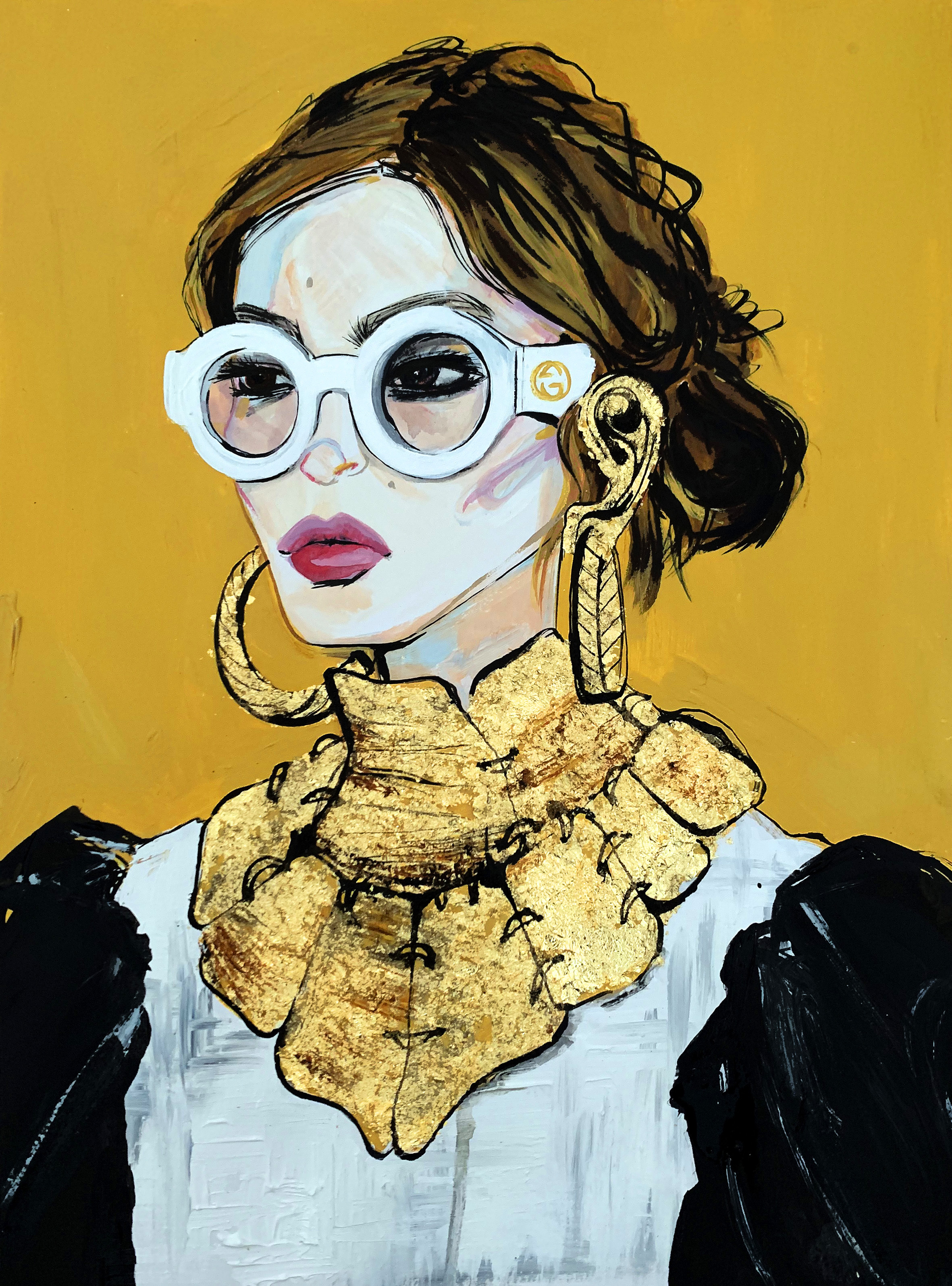 Golden Gucci Girl - Mixed media painting on paper with gold foil29.7x41cm£400