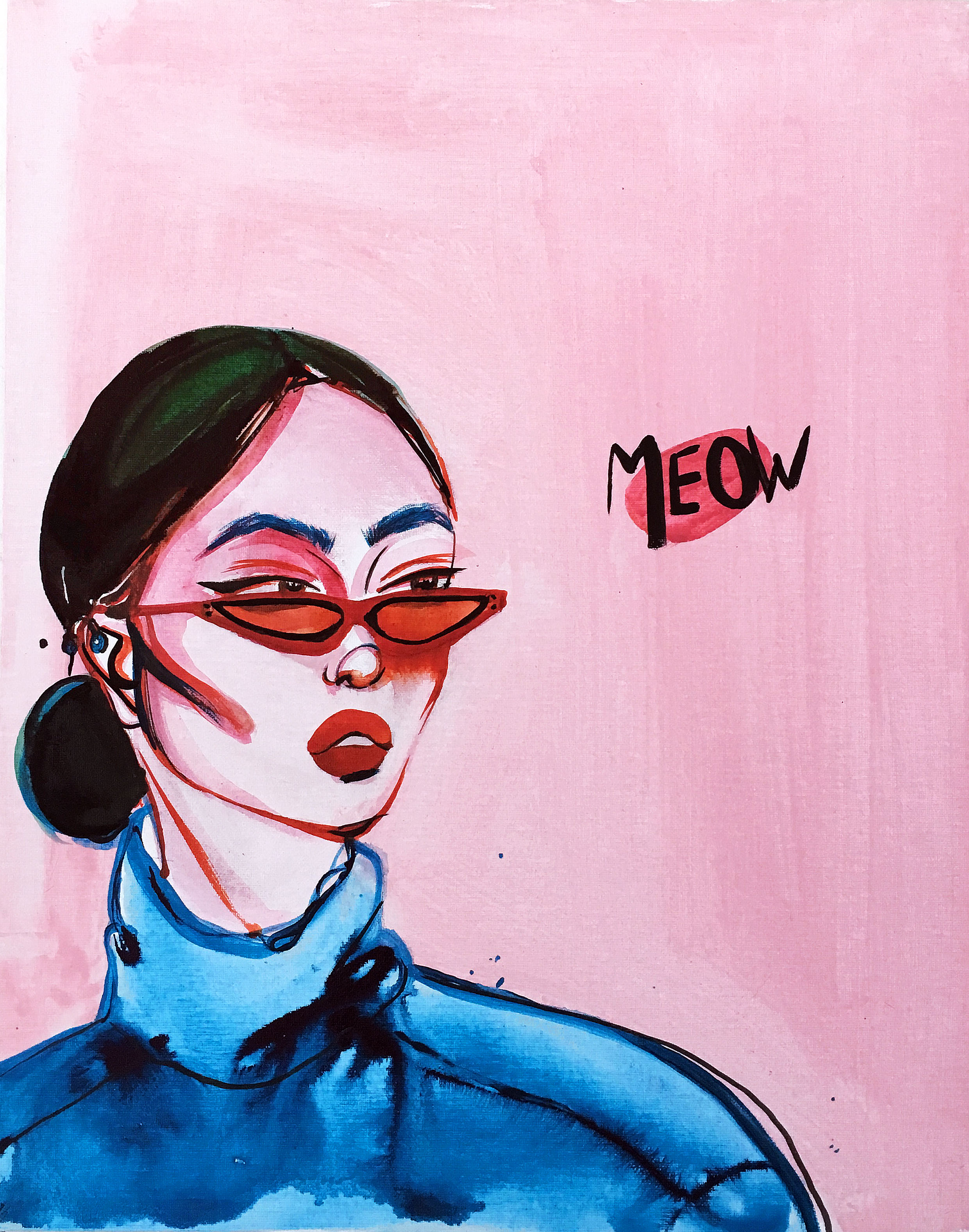 Meow - Mixed media painting on canvas board50.5x40.5x0.3cm£450 Unframed£600 Framed