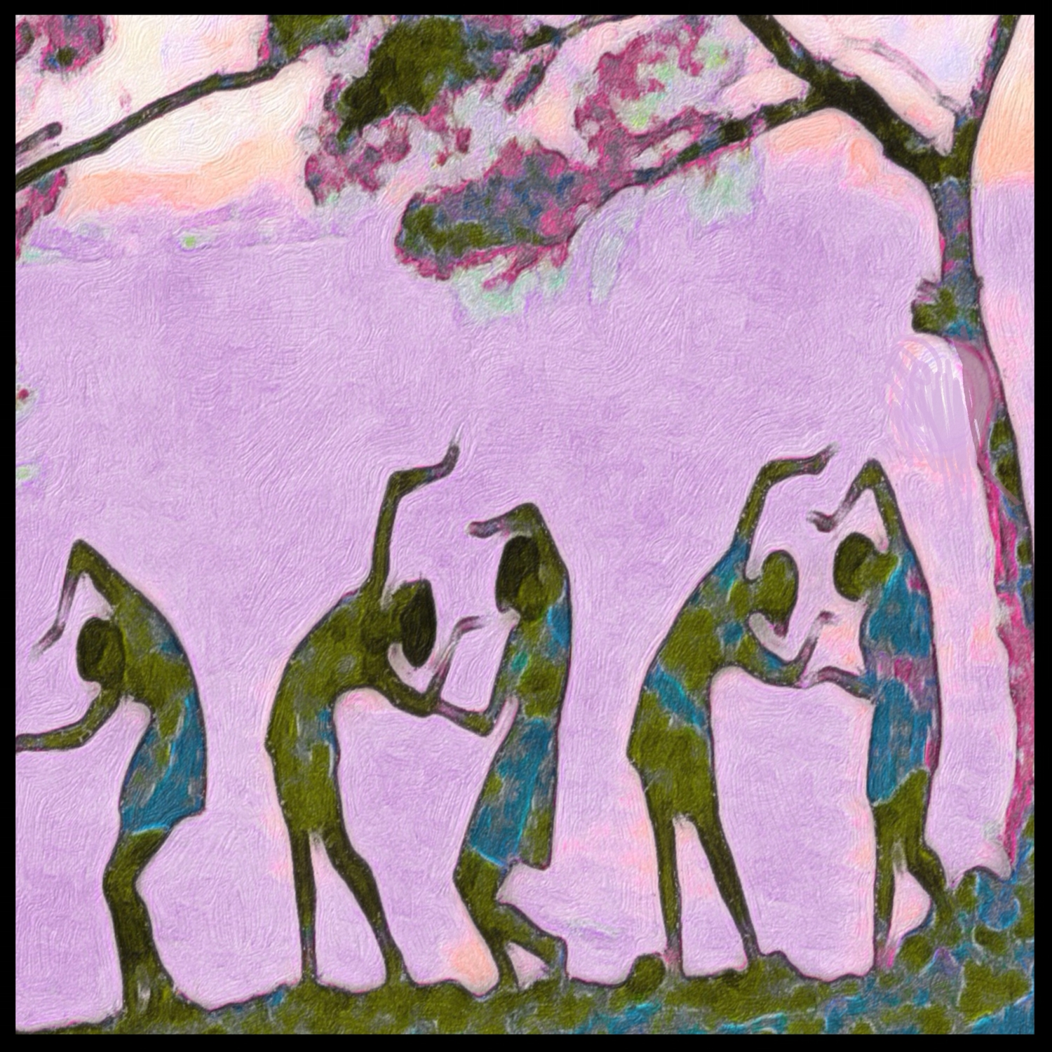 summer lilac dancers- mixed media, digital art, paper, canvas