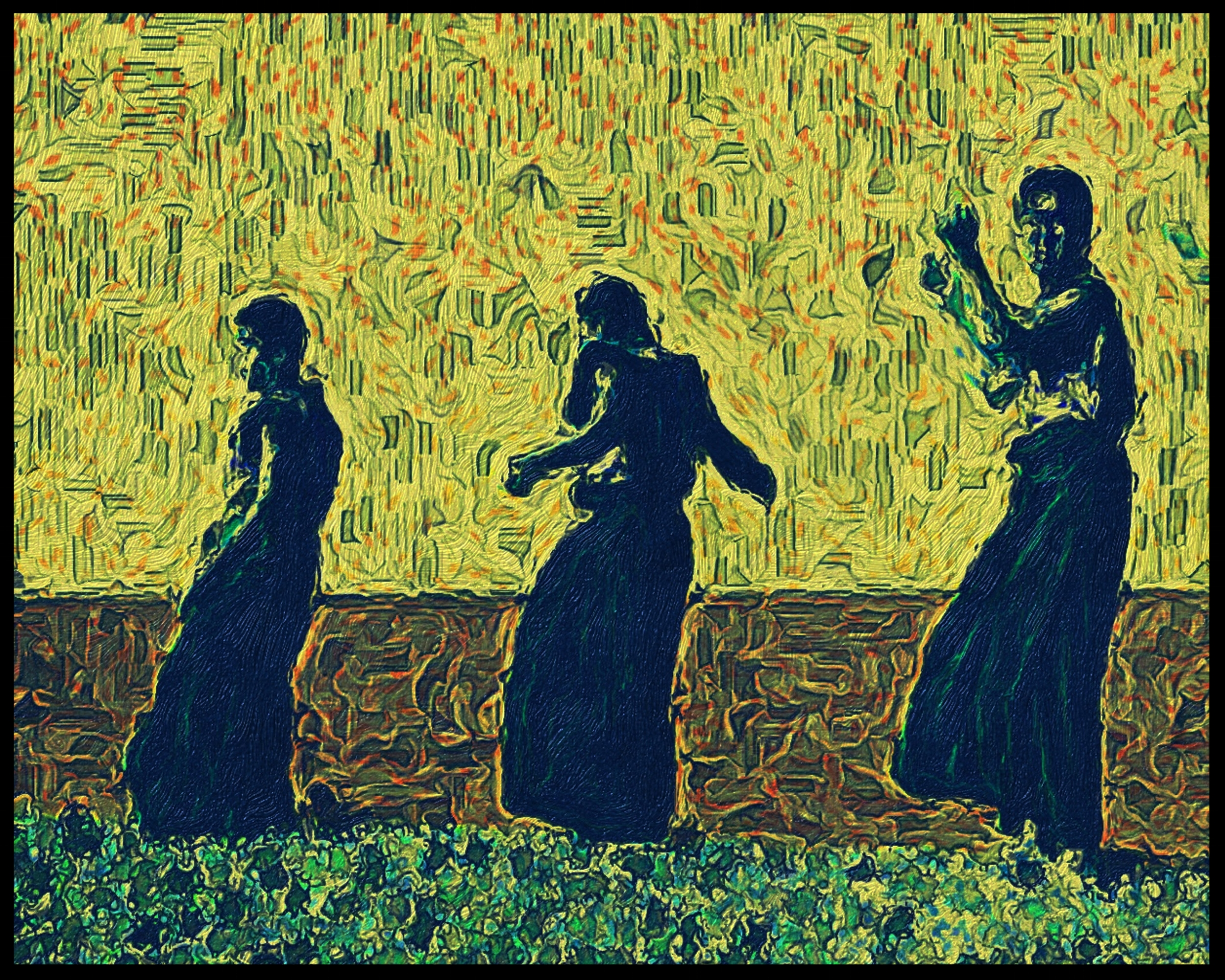 """happy dancing monks in yellow""- acrylic, digital, collage, acrylic paint, gel medium"
