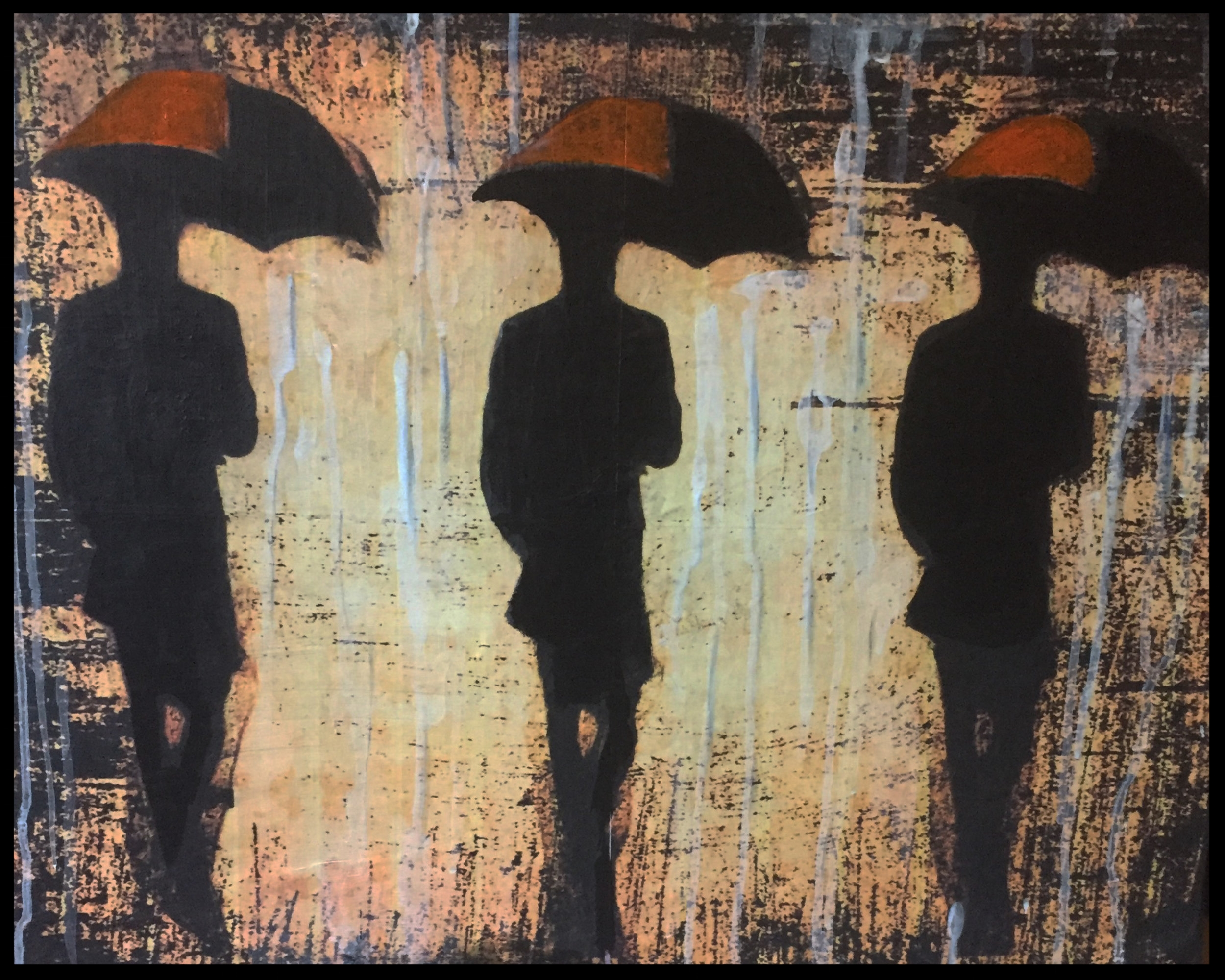 fall rain in the city- acrylic, digital images, paper, canvas