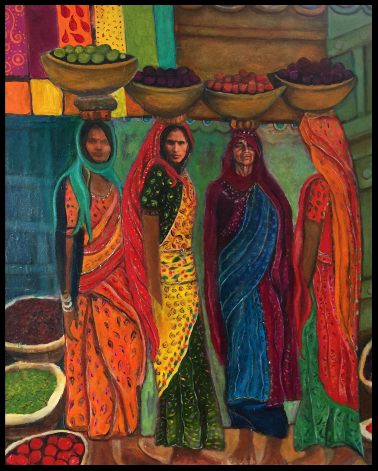 colorful india....always- mixed media, acrylic paint, canvas, ephemera