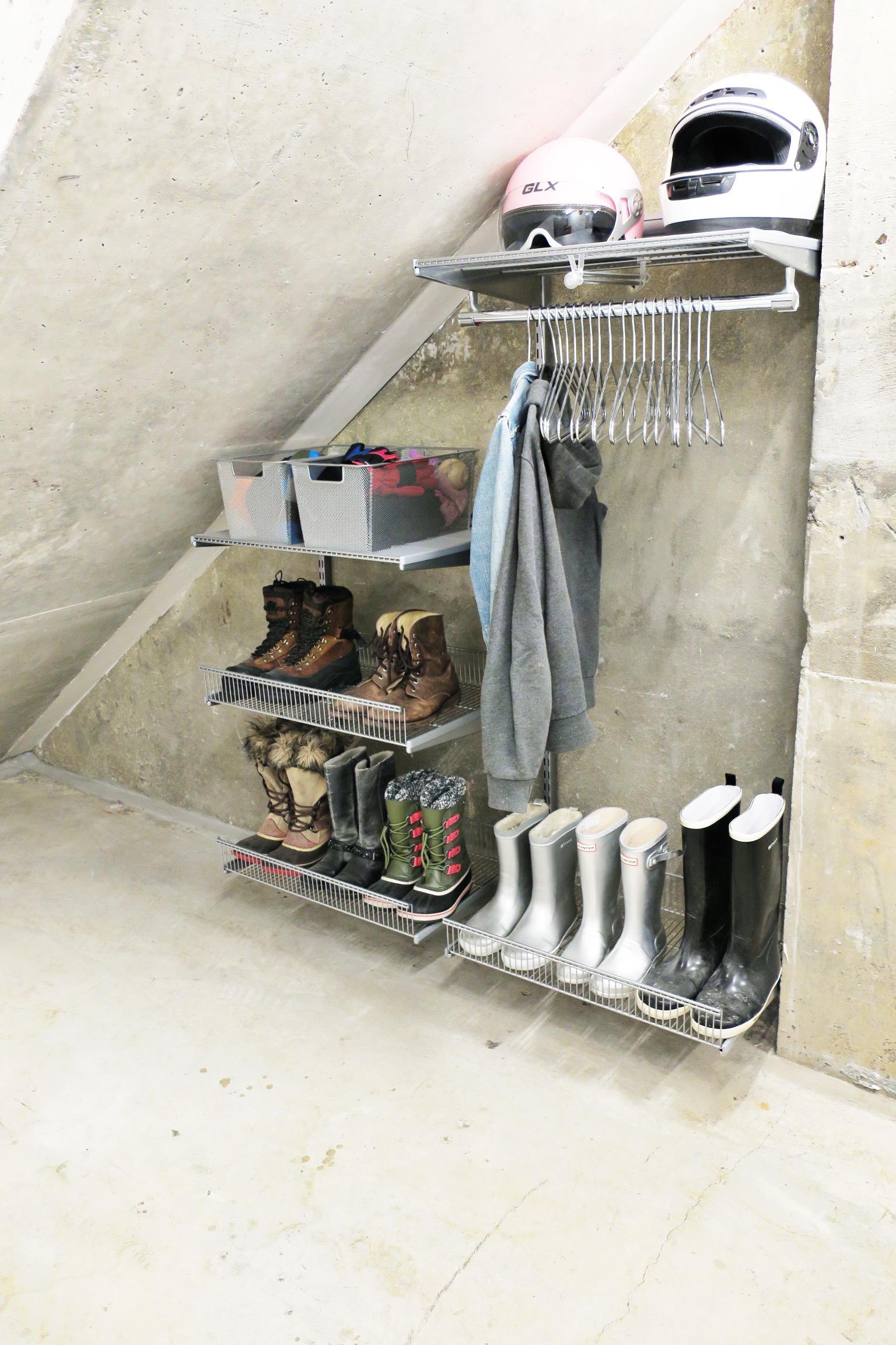 Shelfi_Organized entryway_Organizd Basement_Elfa_oganized shoes