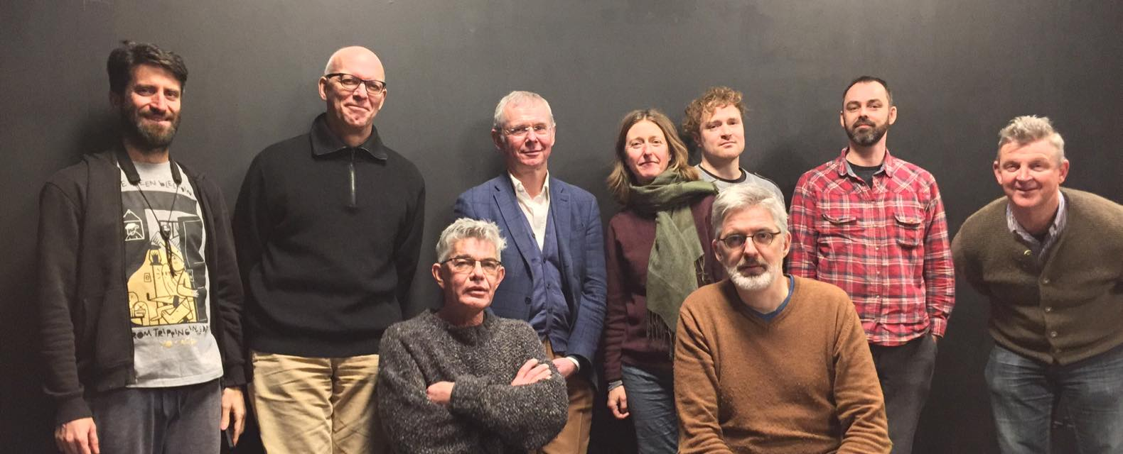 Qubit Philharmonic, 2017. FLTR: Natalio Sued, Michael Moore, Wilbert de Joode, JanWillem van der Ham, Felicity Provan, Gerri Jaeger, Joost Buis, Jeroen Kimman, Eric Boeren.