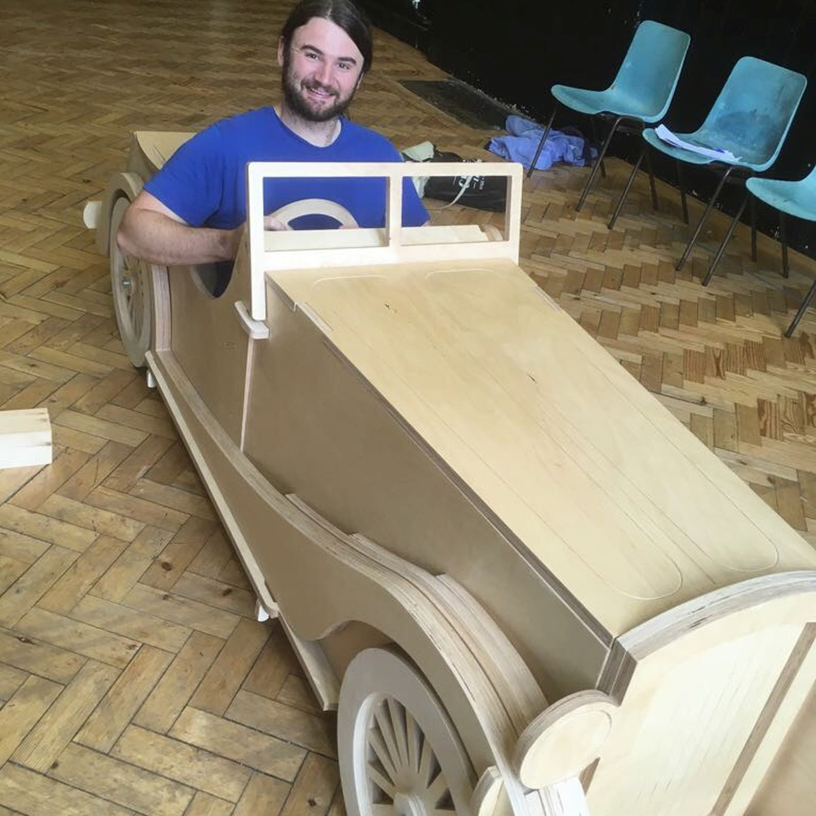 The Tornycroft Girls - This car was made entirely from 18mm Birch plywood and was designed to be assembled during the performance.