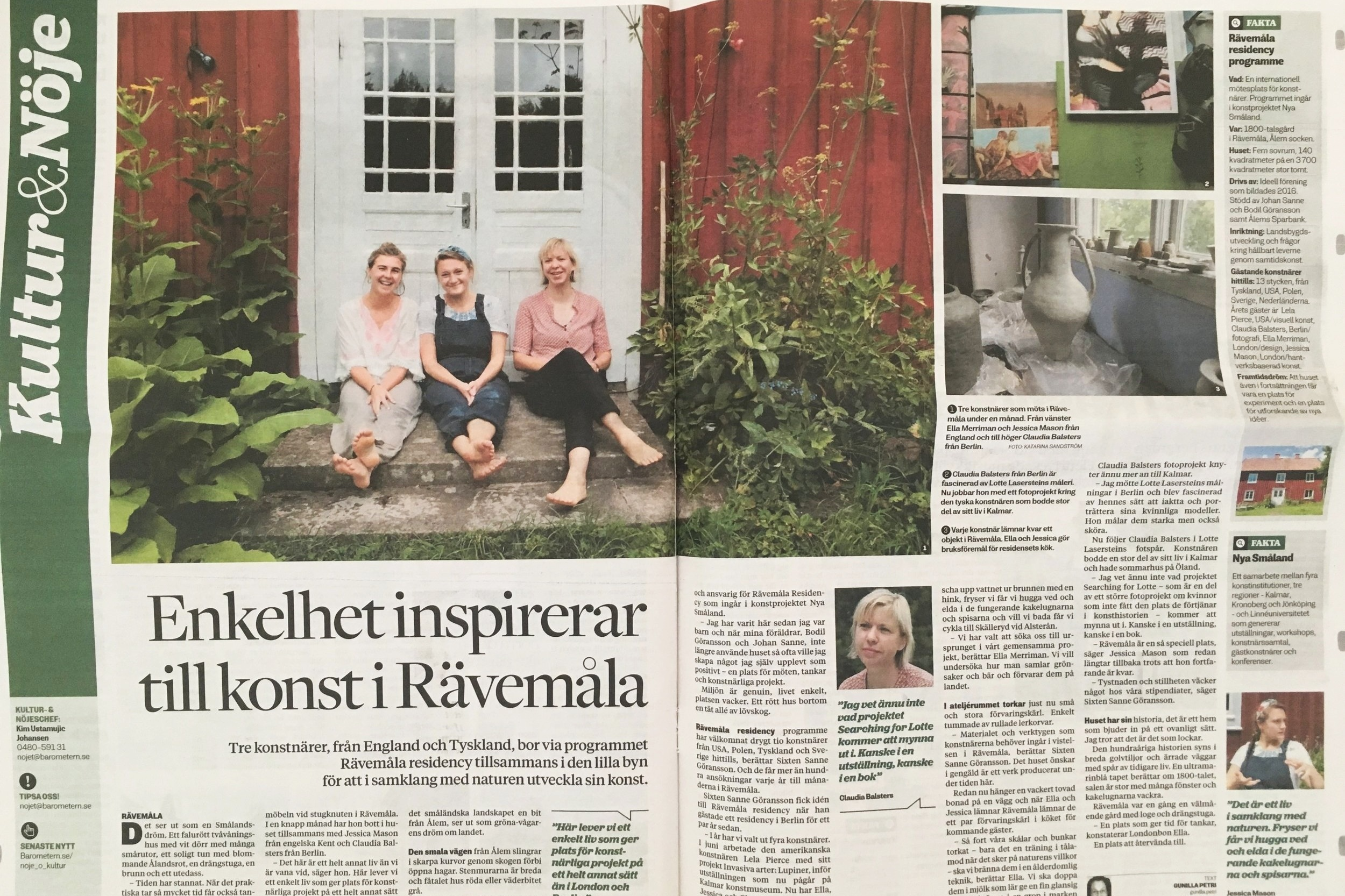 Barometern, Sweden - Artist residency in Rävemåla, Sweden collaborating with the artist Jessica Mason