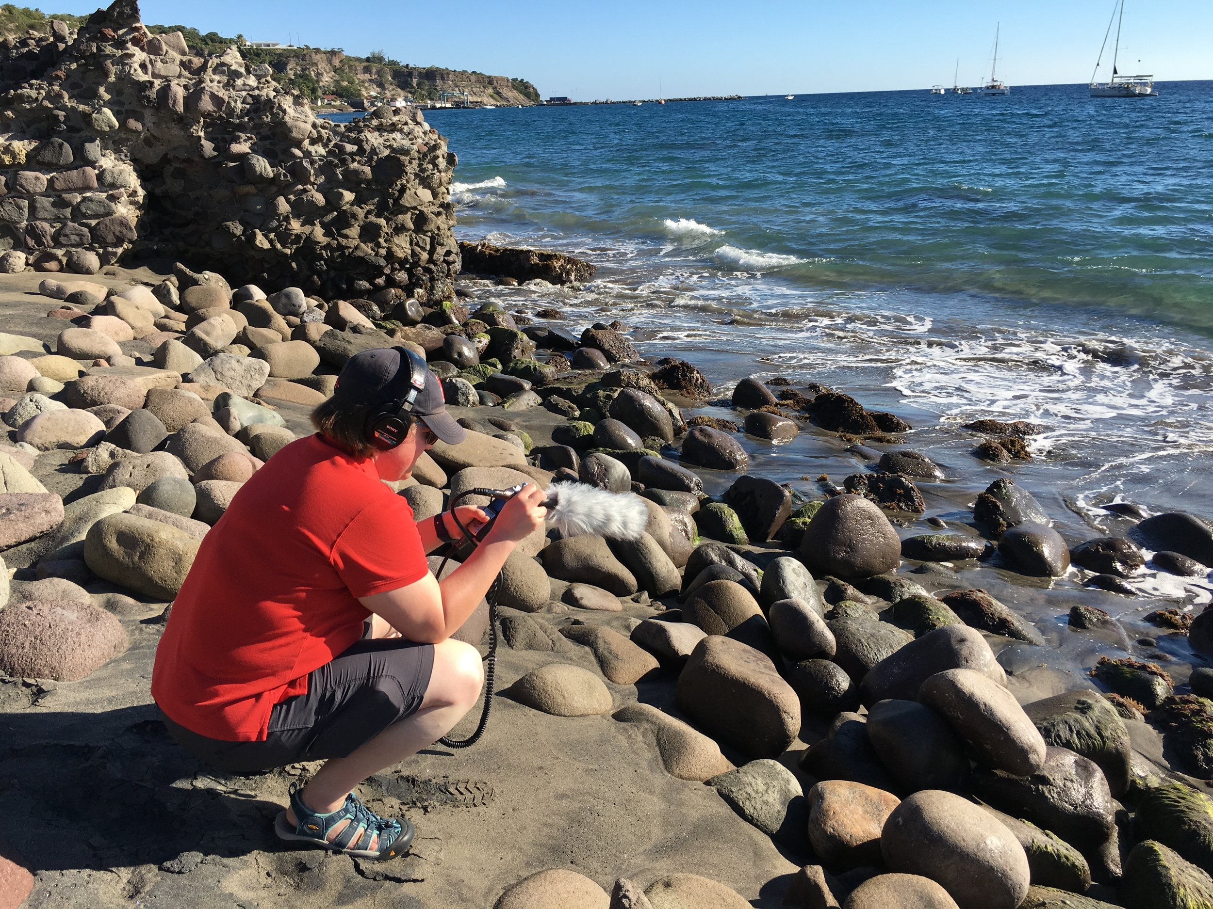 Recording wave sounds in Sint Eustatius for the  Doing History: To the Revolution  series.