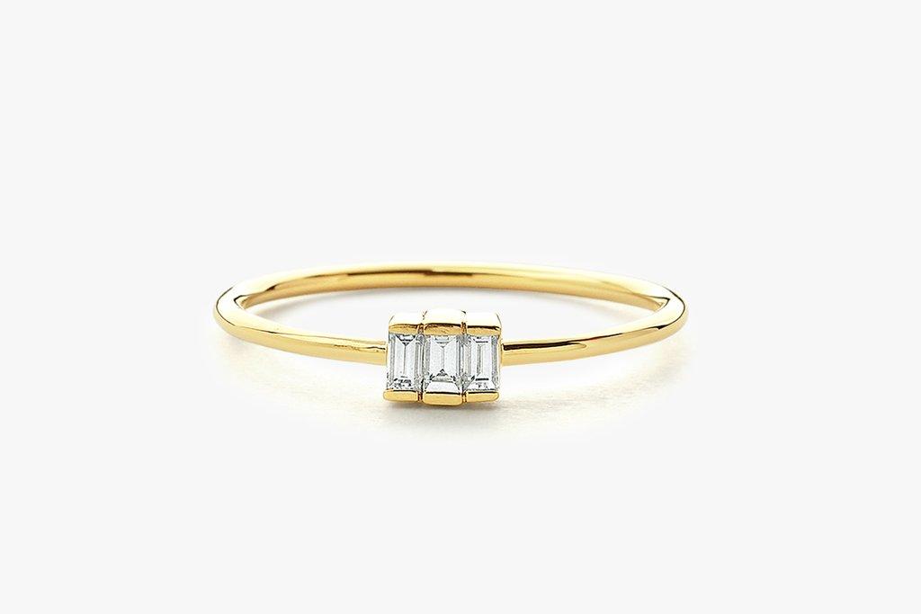 14K Baguette Trio Diamond Ring, $375. Image via Ferko's Fine Jewelry