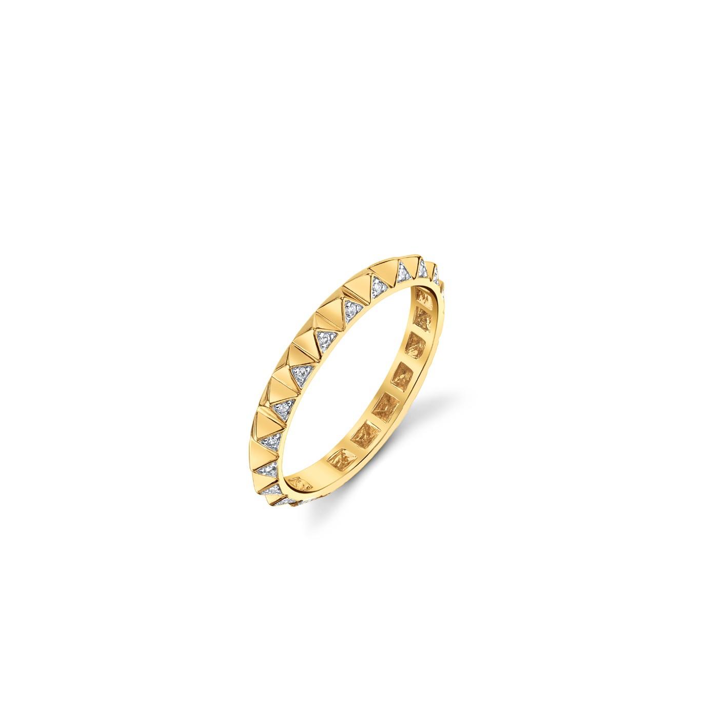 Gold & Diamond Mini Pyramid Ring, $640. Image via Sydney Evan