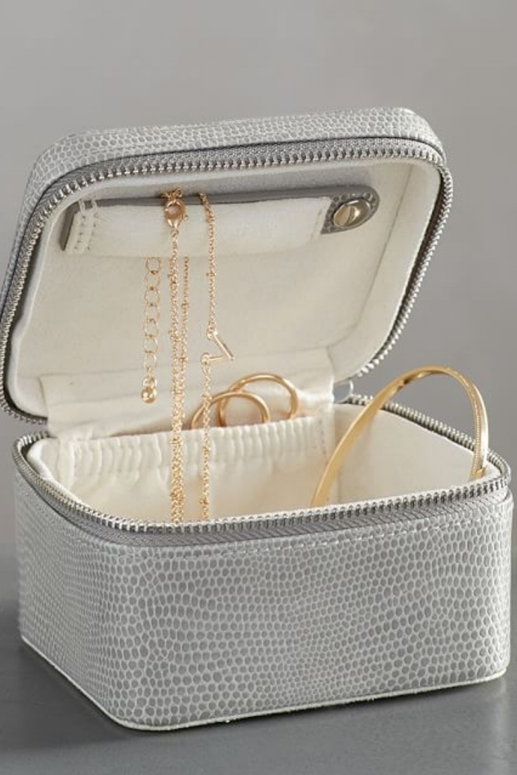 Honeymoon Travel Essentials | Small Travel Jewelry Case by Pottery Barn, $29.50. Image via Pottery Barn.