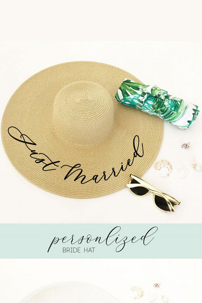 Honeymoon Travel Essentials | Just Married Hat by Mod Party, $20. Image via ModParty