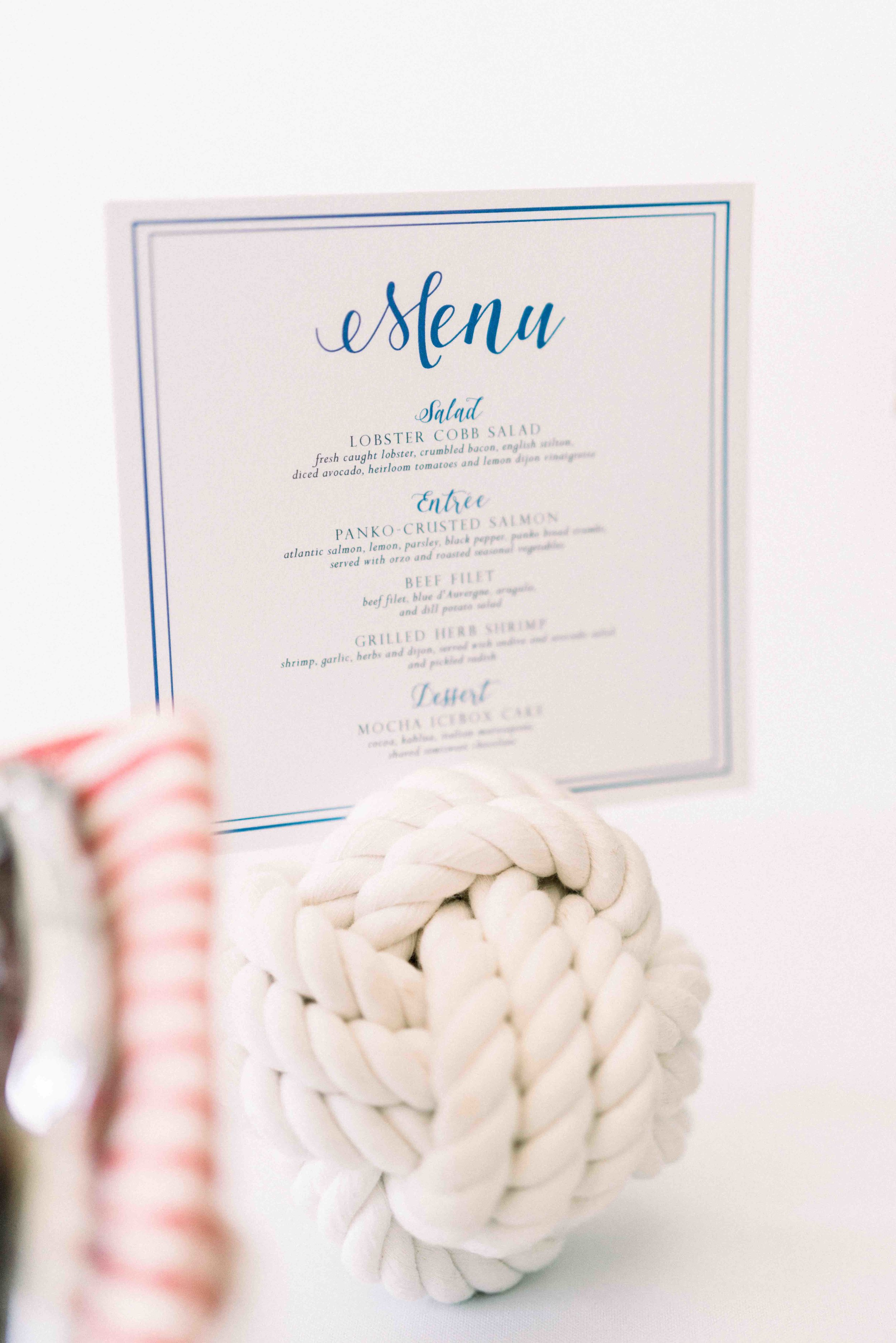 Blue and White Nautical Menu by Prim + Pretty Prints.