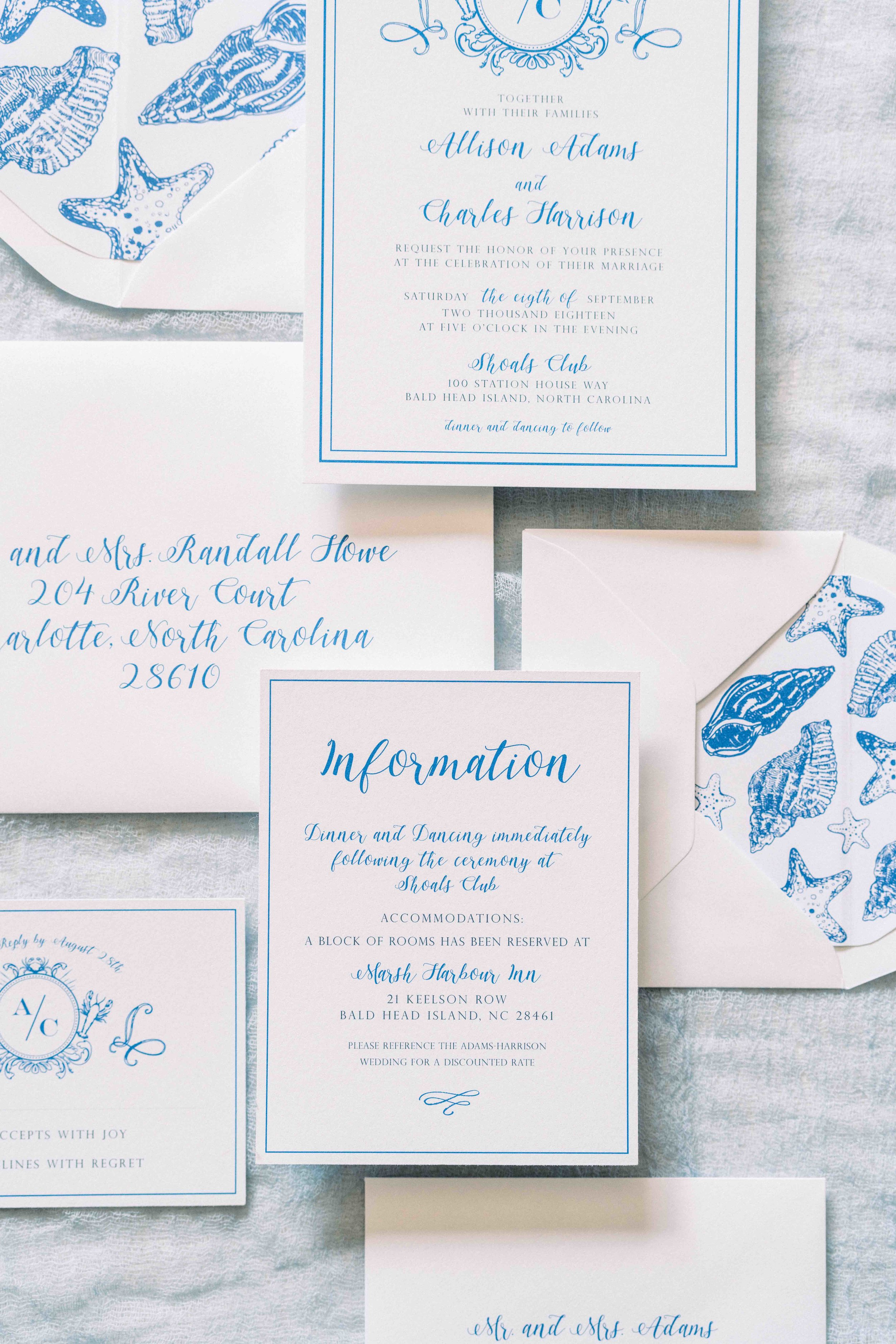 Blue and White Beach Wedding Invitation Suite by Prim Pretty Prints