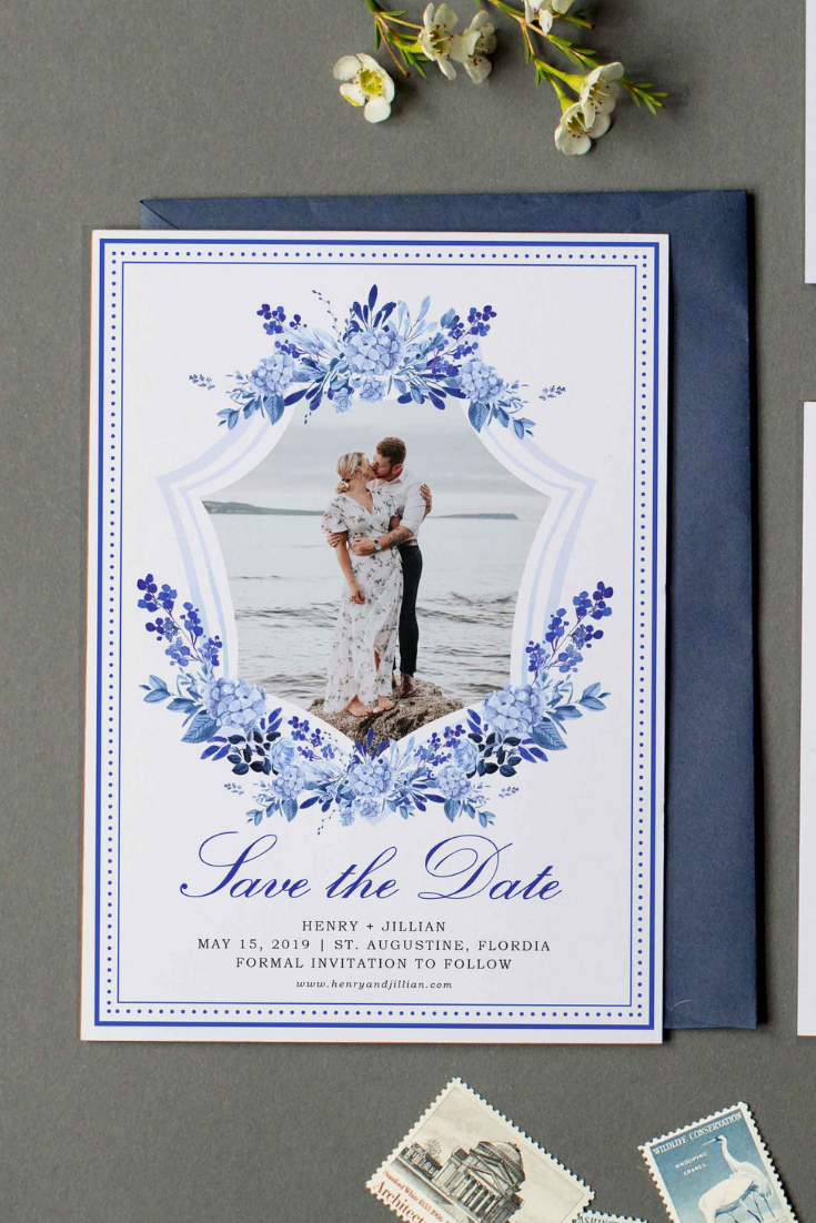 Blue and White Wedding Save the Date by Prim Pretty Prints