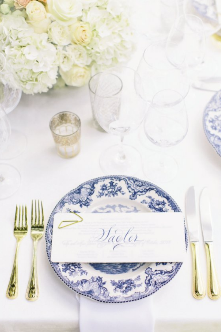 Blue and White China Place Settings, Photo by Corbin Gurkin