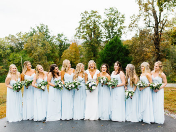 Gorgeous light blue bridesmaid dresses for fall wedding. Photo by Feiten Photography.