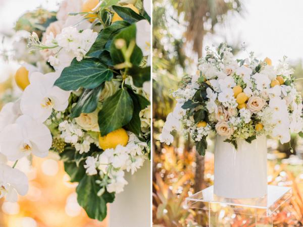 White orchids, roses, lemons and greenery wedding floral arrangements for Naples Botanical Garden wedding.png
